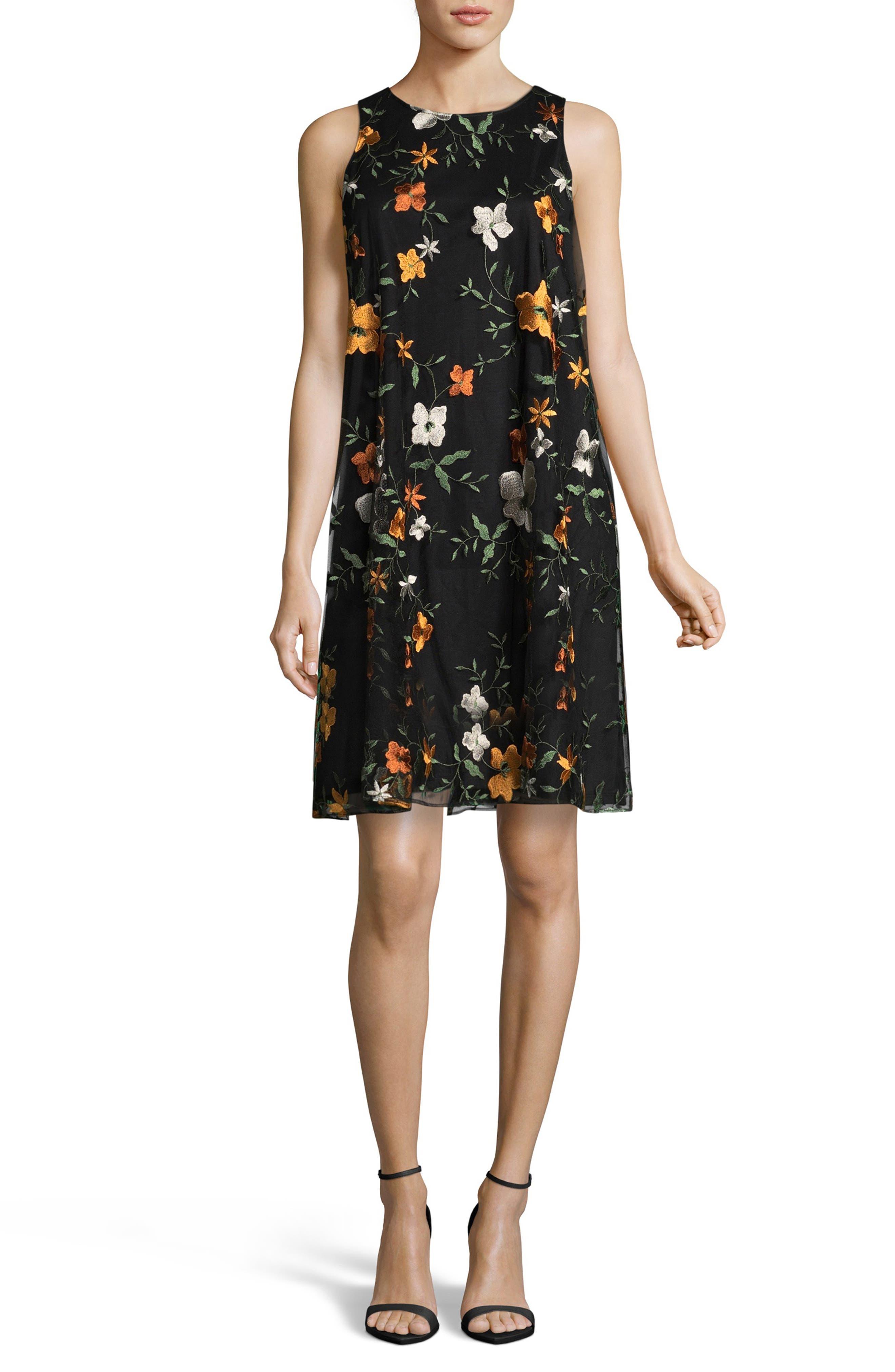 Embroidered Chiffon Shift Dress Main