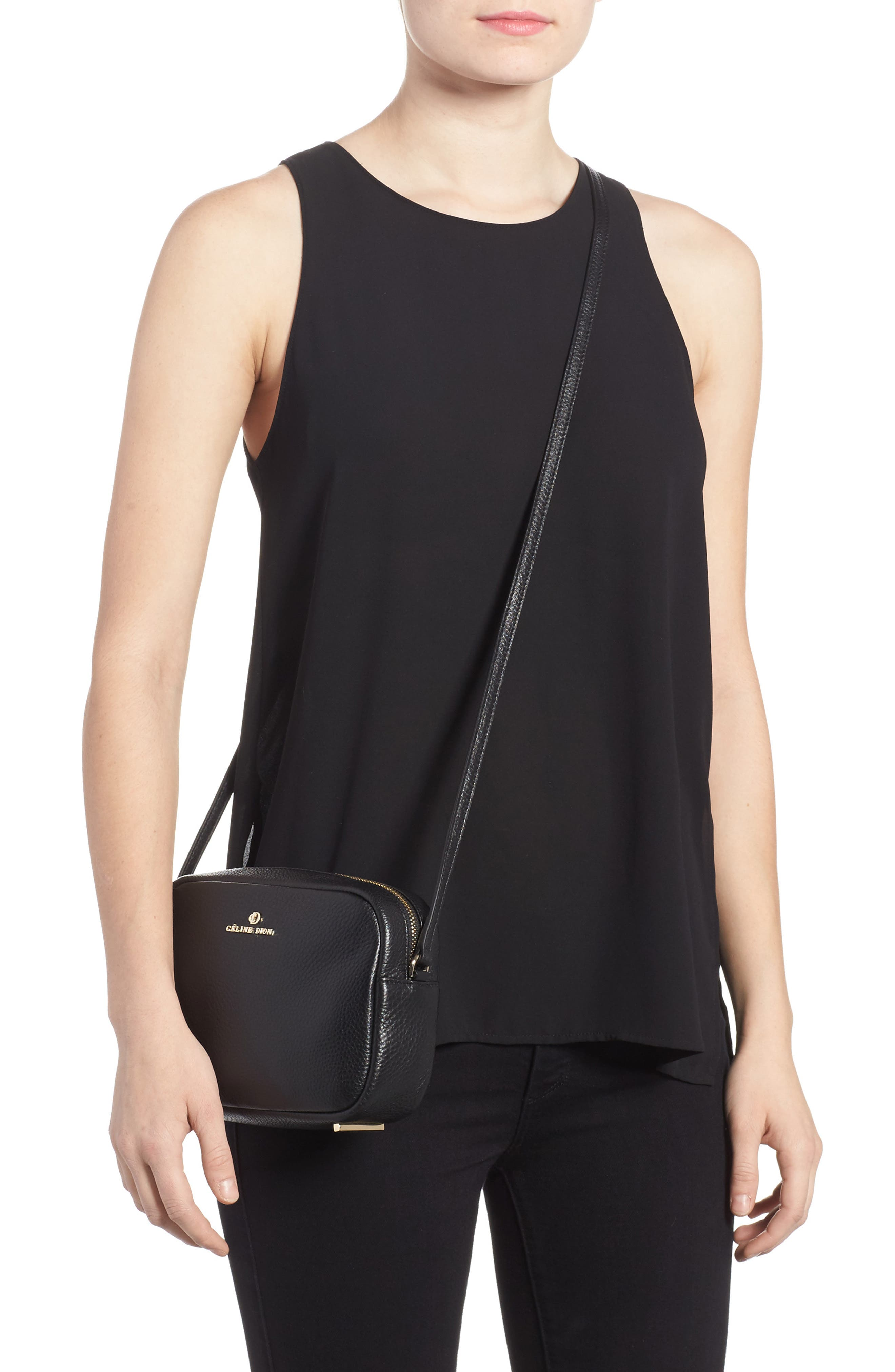 Céline Dion Adagio Leather Camera Crossbody Bag,                             Alternate thumbnail 2, color,                             001