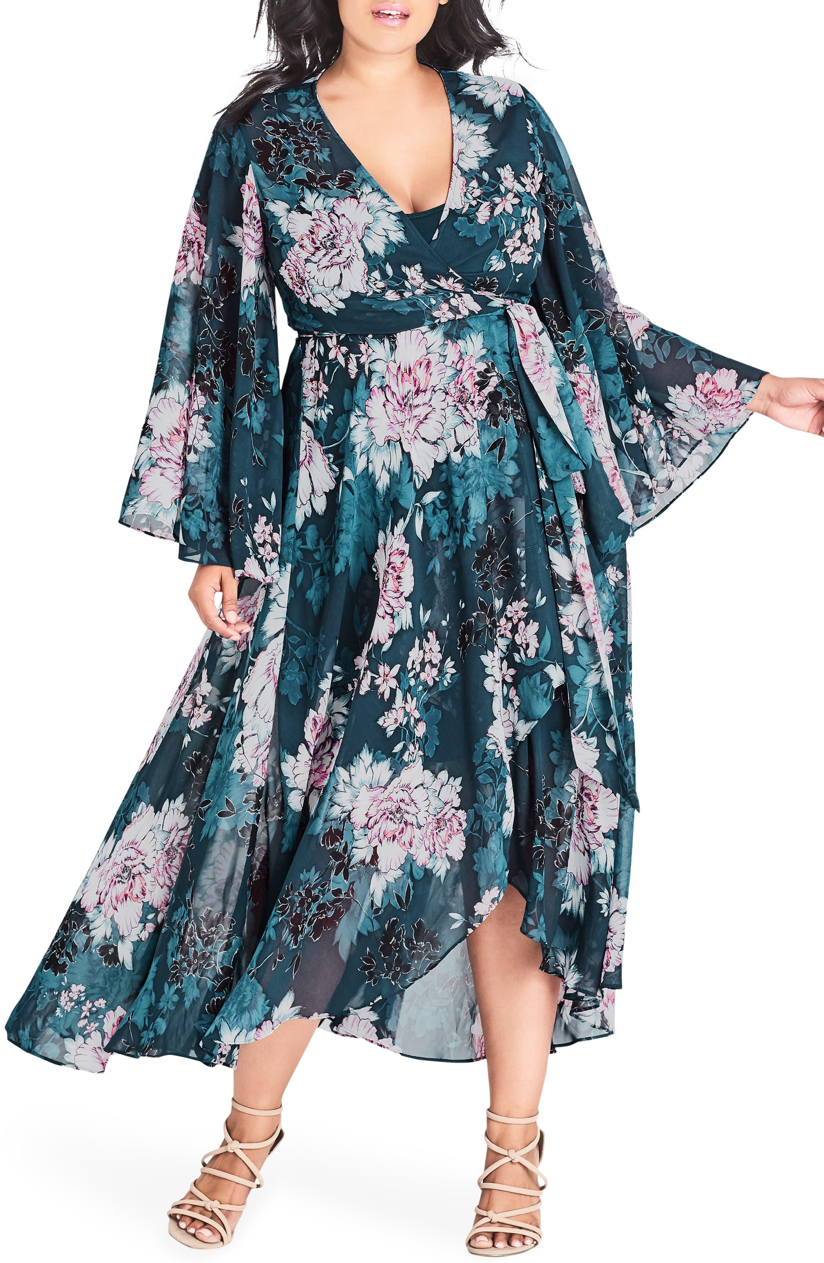 CITY CHIC Jade Blossom Wrap Maxi Dress, Main, color, JADE BLOSSOM