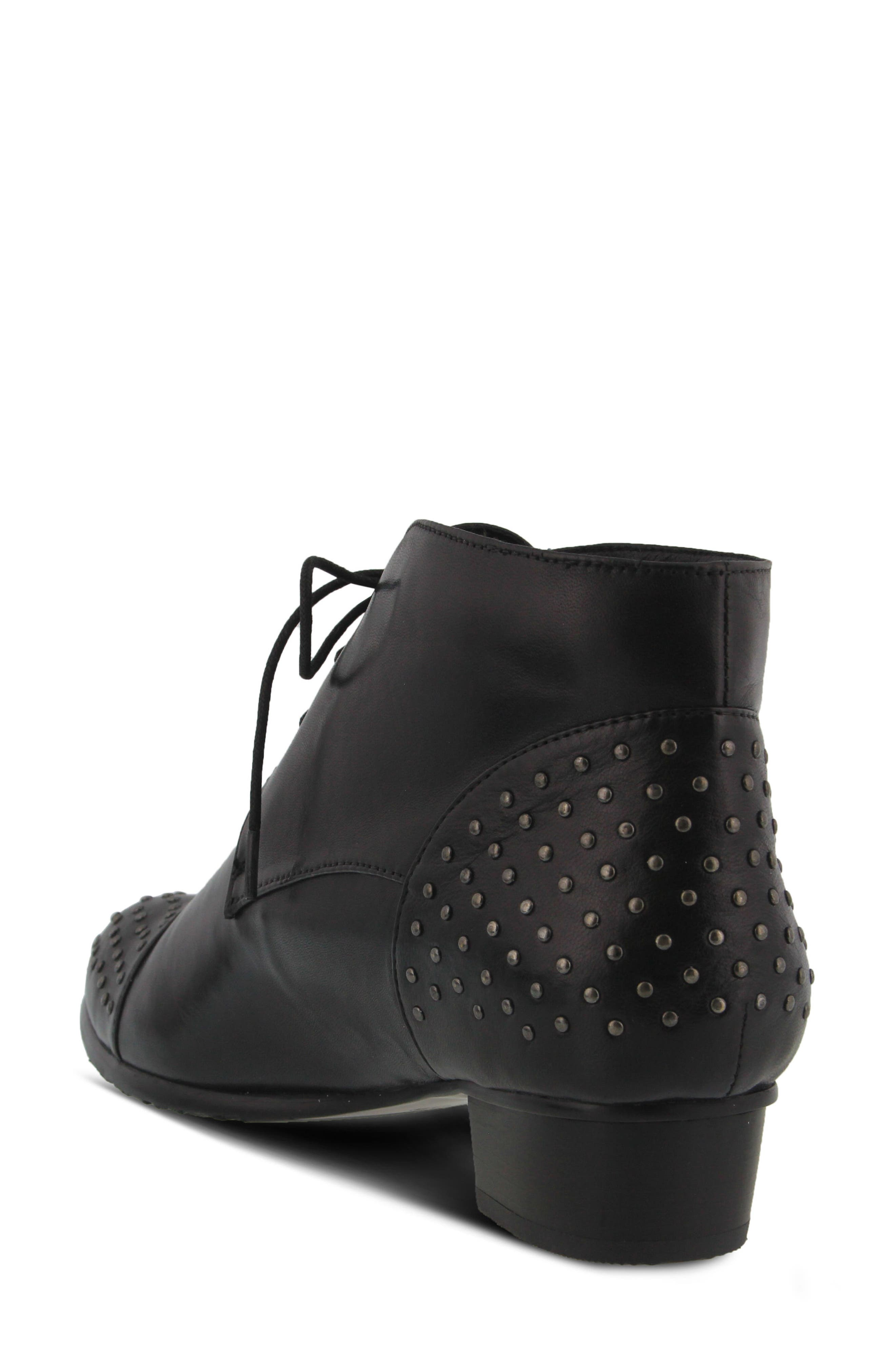 Giovanna Studded Bootie,                             Alternate thumbnail 2, color,                             BLACK LEATHER