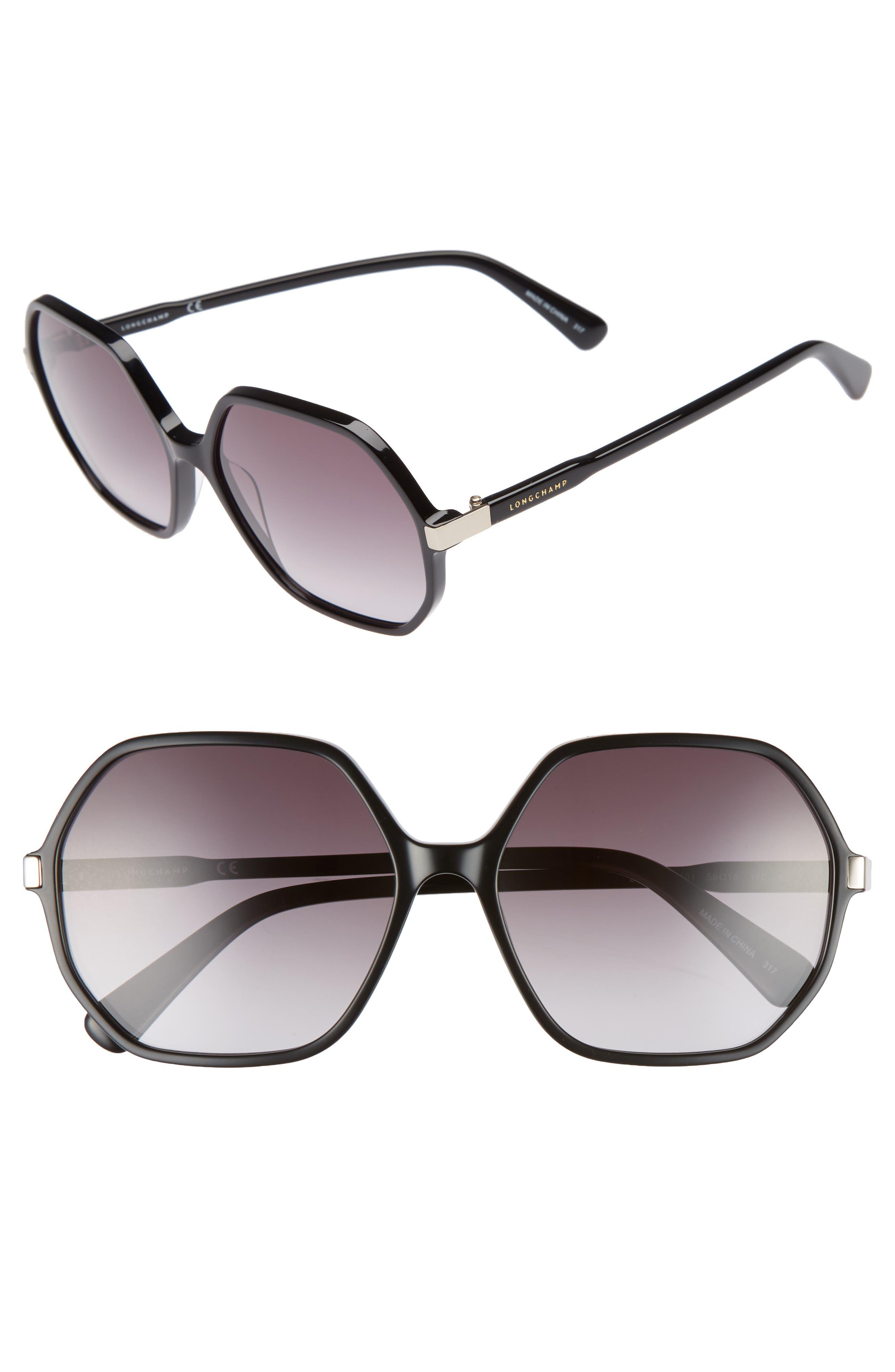 59mm Gradient Lens Hexagonal Sunglasses,                             Main thumbnail 1, color,                             BLACK