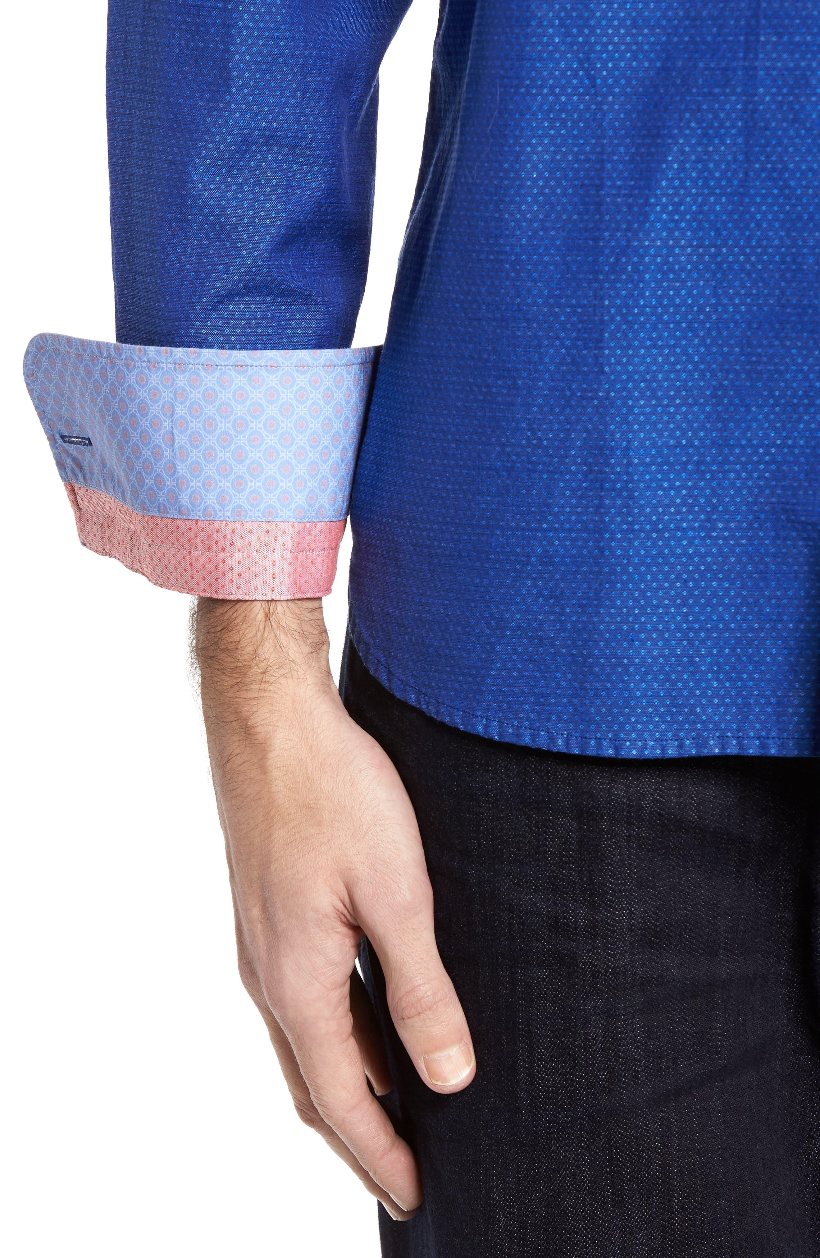Dobby Cotton & Linen Sport Shirt,                             Alternate thumbnail 15, color,