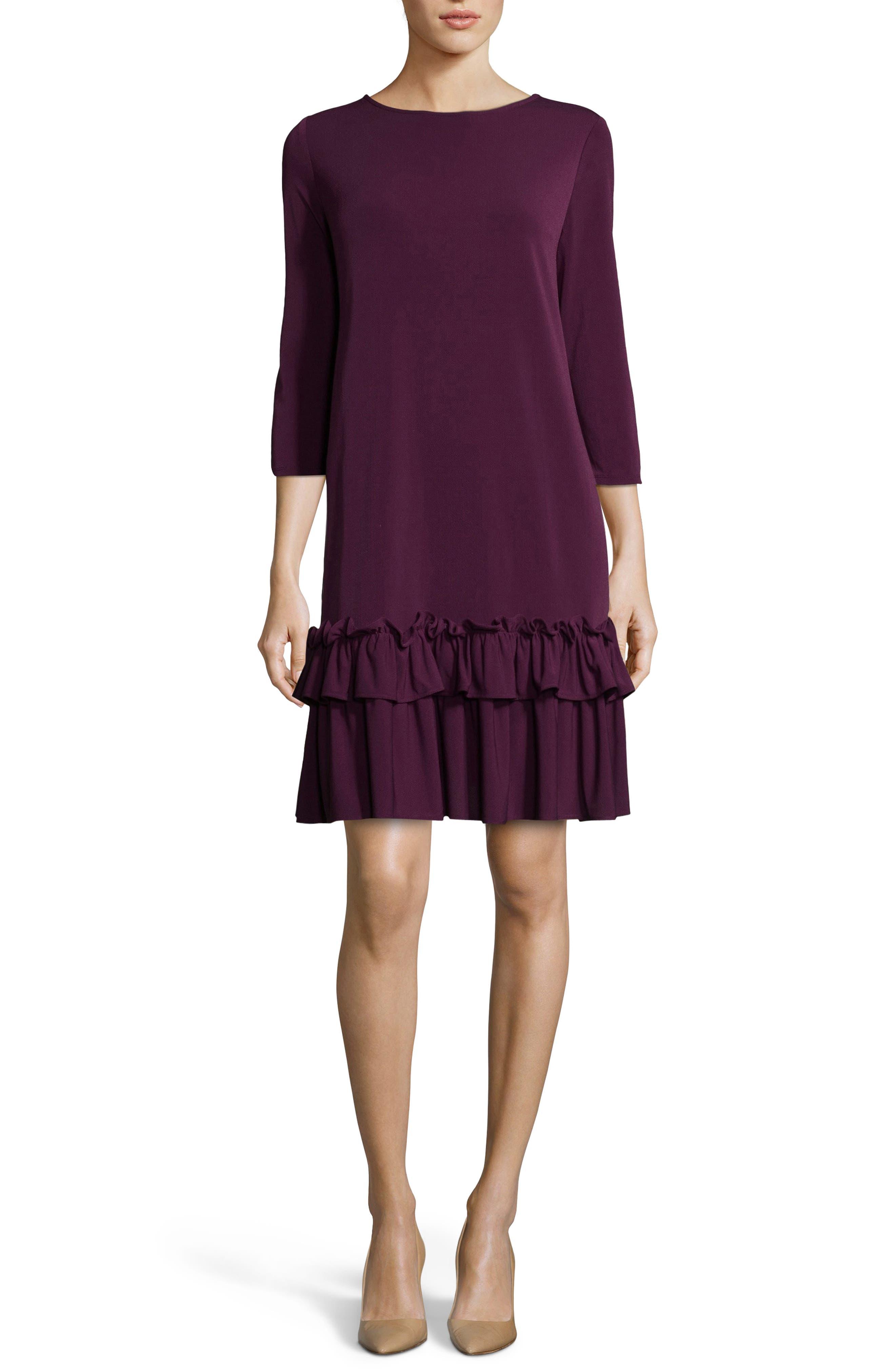 Eci Aline Ruffle Trim Shift Dress, Purple