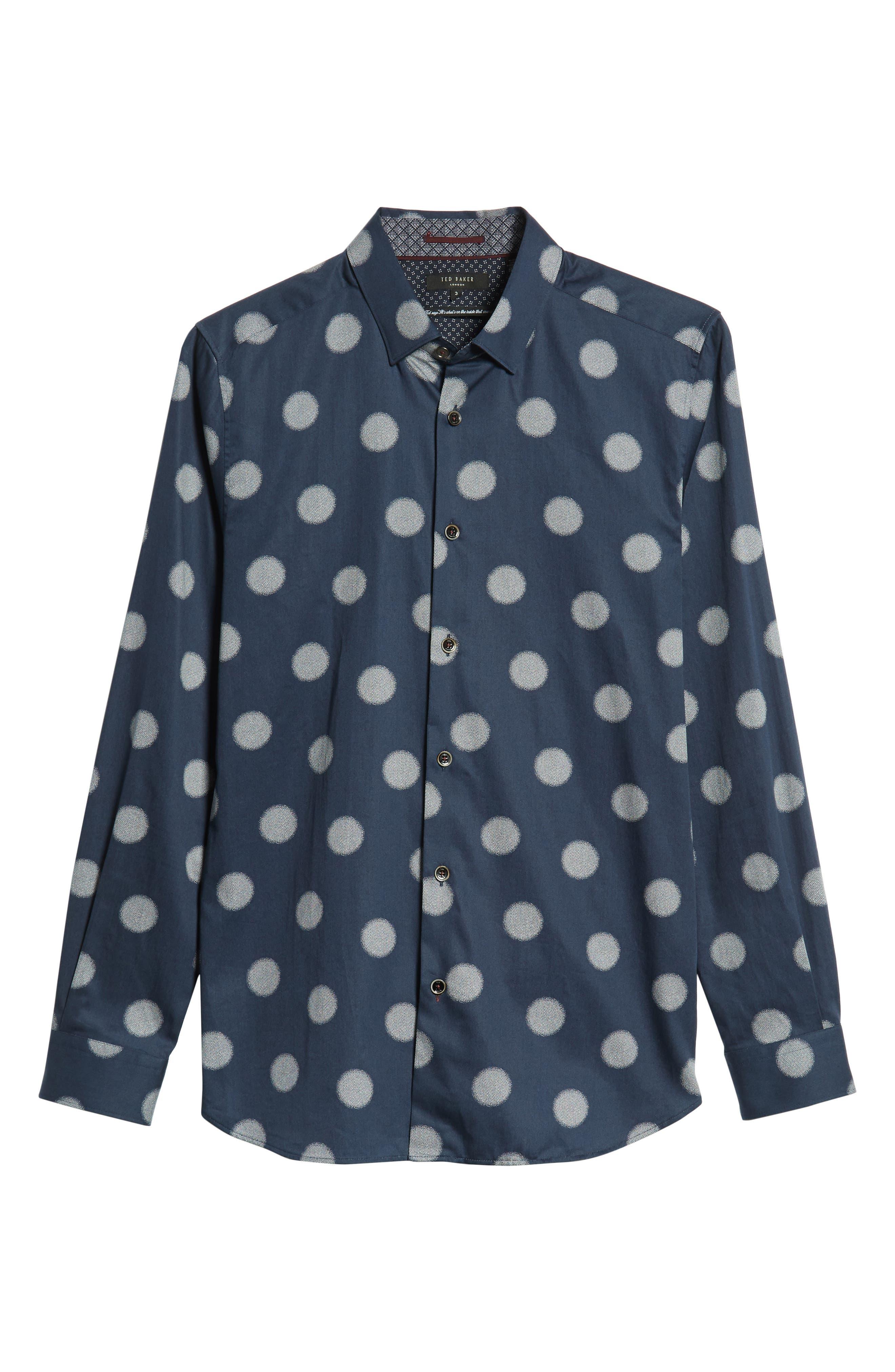 Cerious Slim Fit Circle Dot Sport Shirt,                             Alternate thumbnail 5, color,                             NAVY
