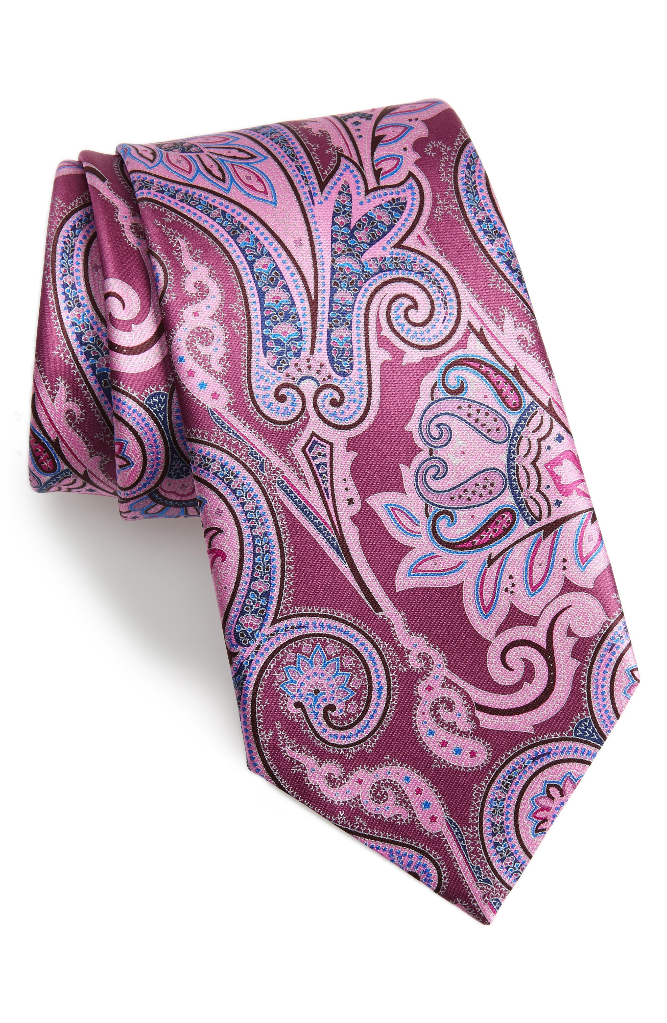 Paisley Silk Tie,                         Main,                         color, RED