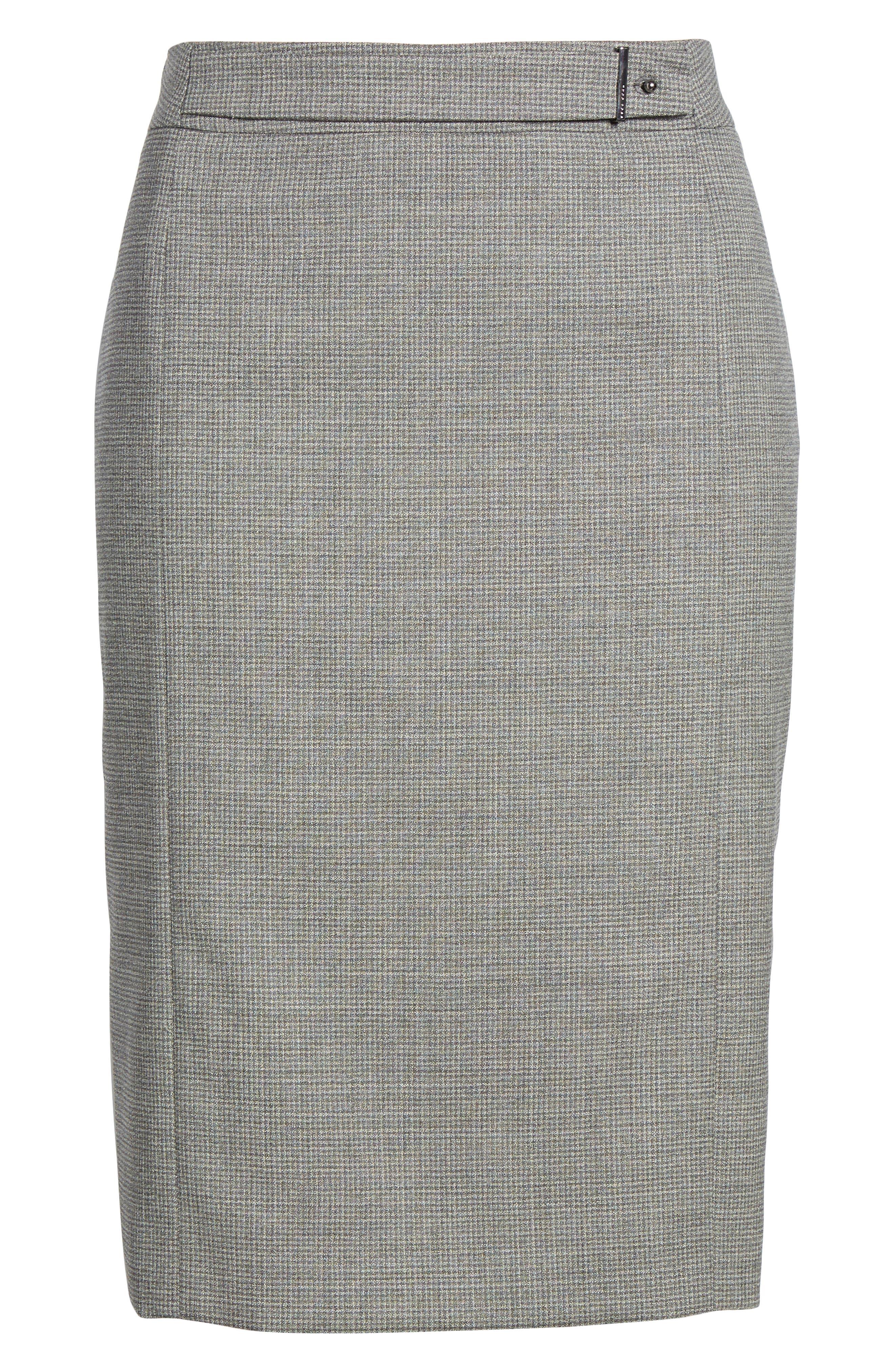 Vewisa Check Wool Suit Skirt,                             Alternate thumbnail 6, color,