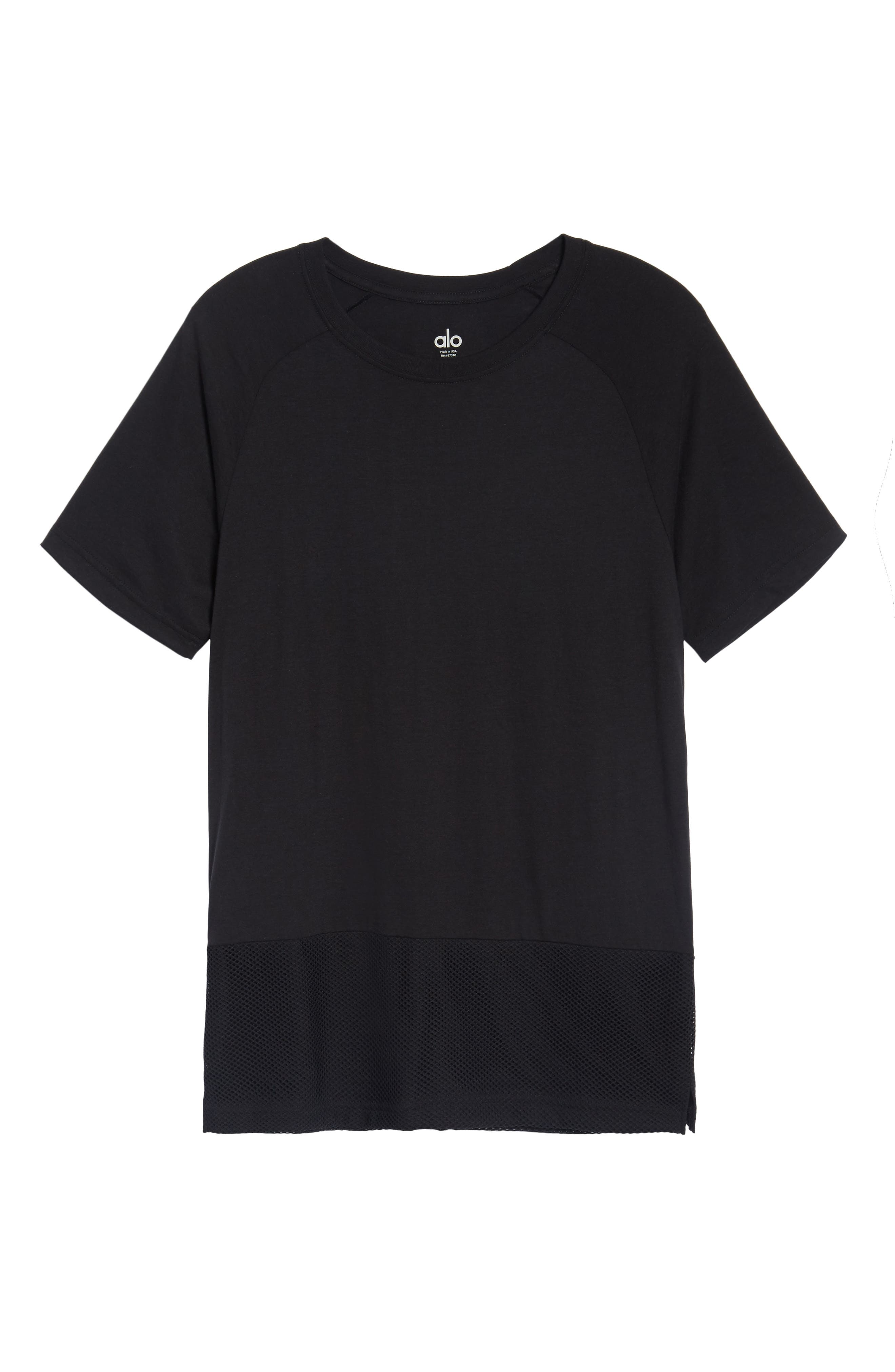 Darma Mesh Hemmed T-Shirt,                             Alternate thumbnail 6, color,                             BLACK