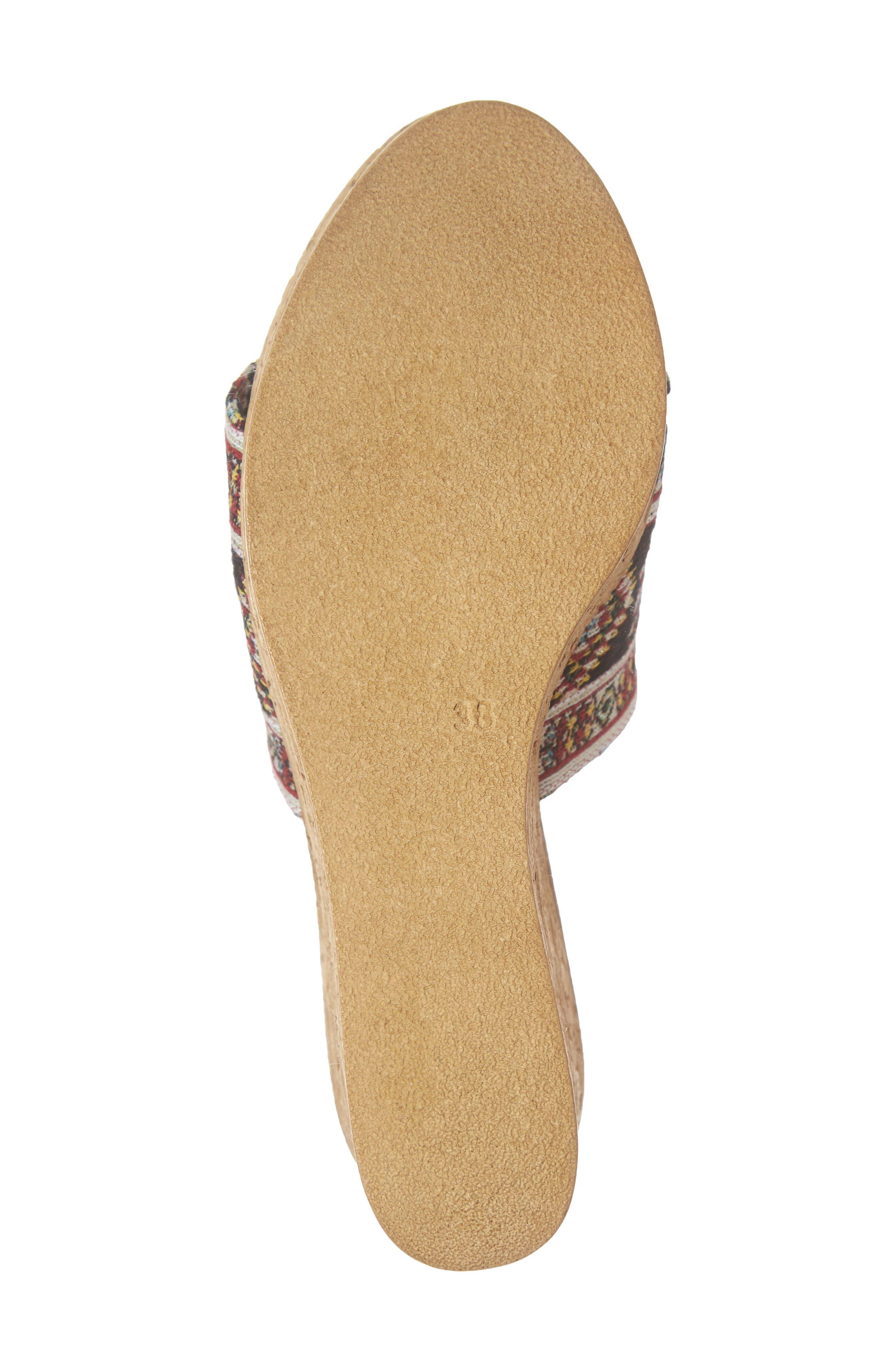 Orabela Platform Wedge Sandal,                             Alternate thumbnail 6, color,                             BLACK MULTICOLOR FABRIC