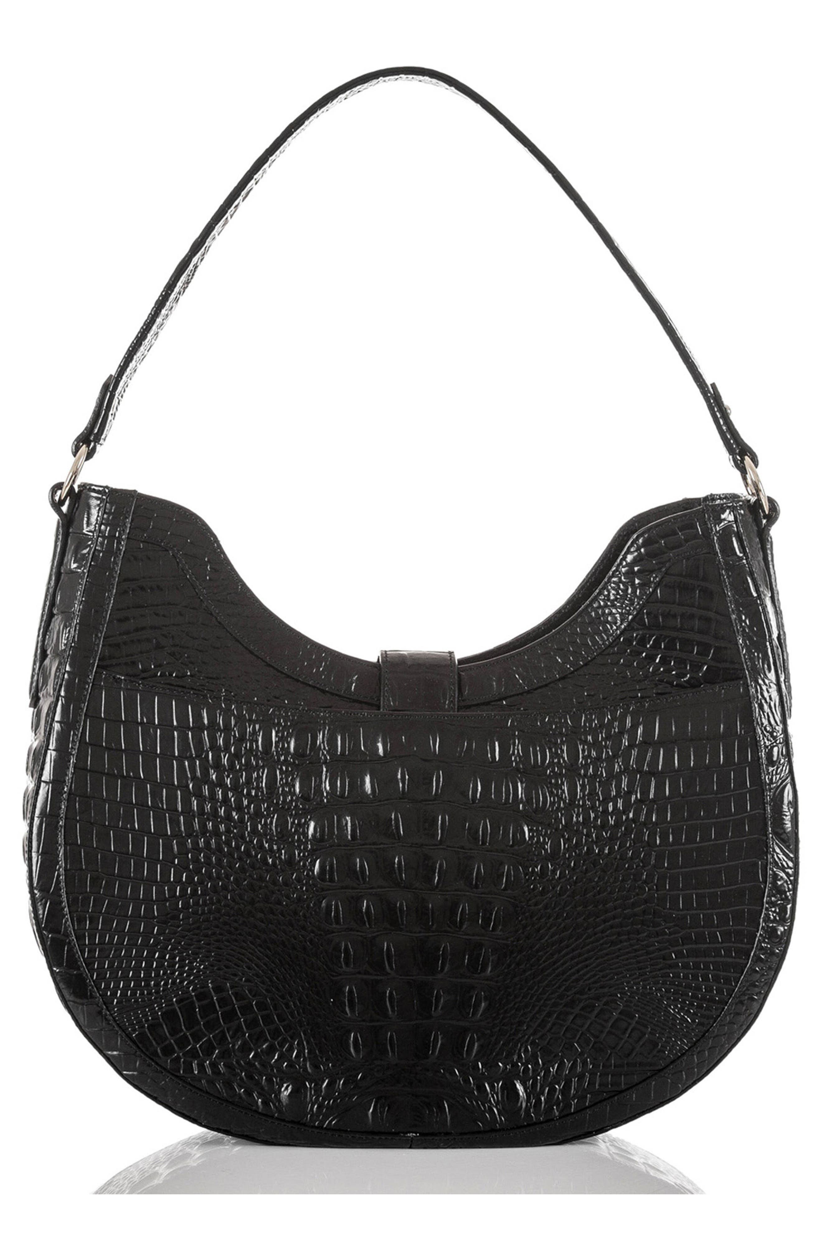 Bethany Croc Embossed Leather Hobo,                             Alternate thumbnail 2, color,                             001