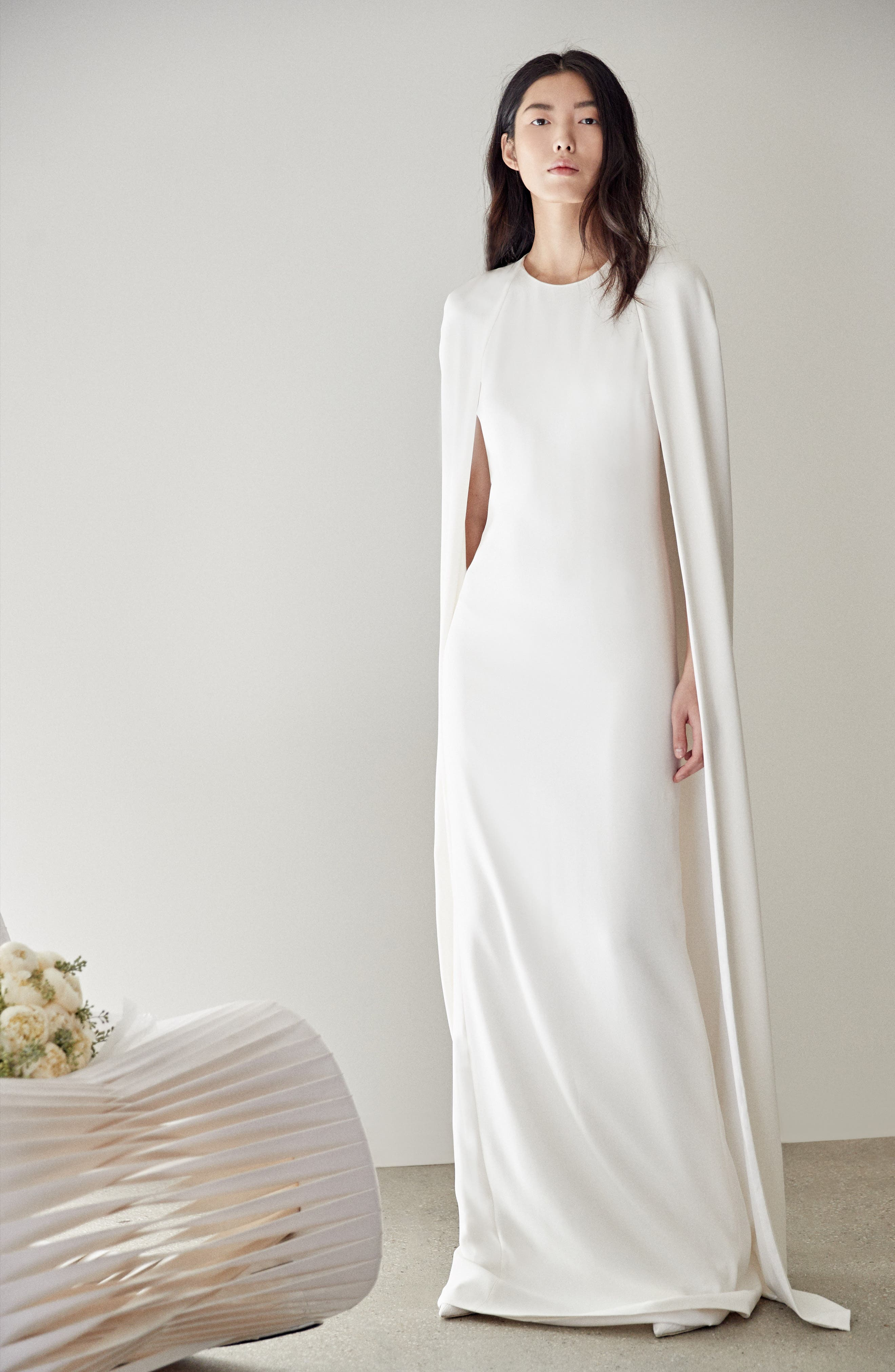 Stella Mccartney F18 Violet Cape Wedding Dress, 48 IT - White