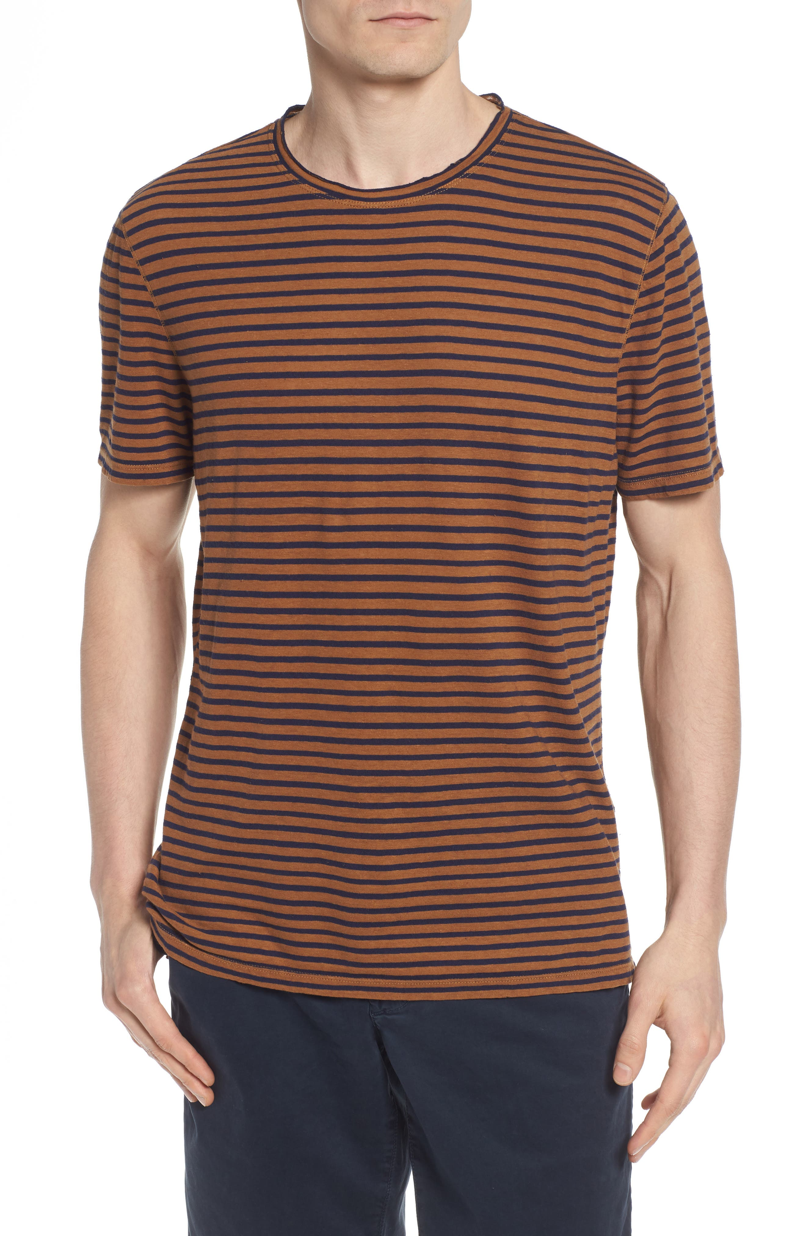 Theo Striped Cotton & Linen T-Shirt,                             Main thumbnail 1, color,                             BRONZE CLAY/ NAVY