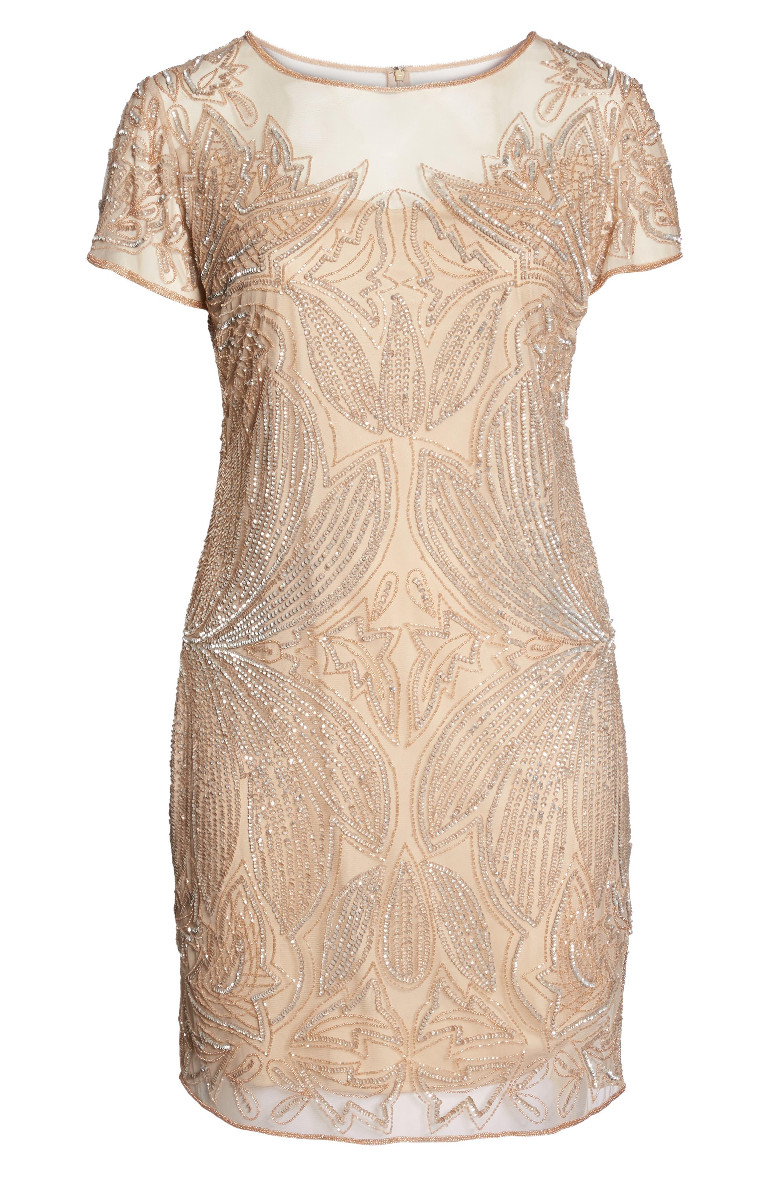 Beaded Sheath Dress,                             Alternate thumbnail 6, color,                             CHAMPAGNE