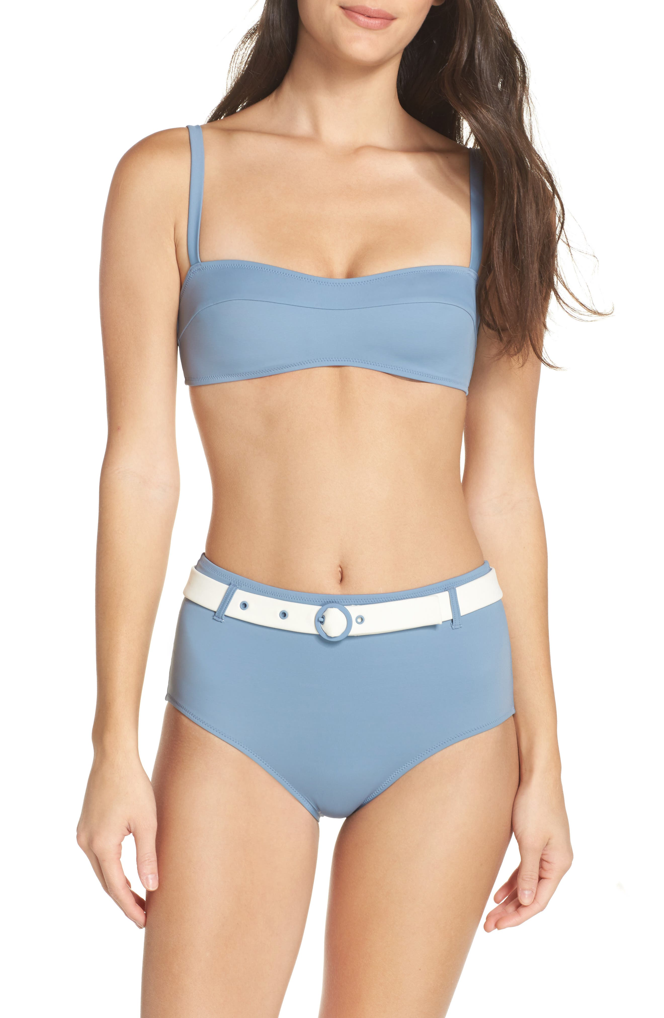 The Quinn Belted High Waist Bikini Bottoms,                             Alternate thumbnail 7, color,                             459