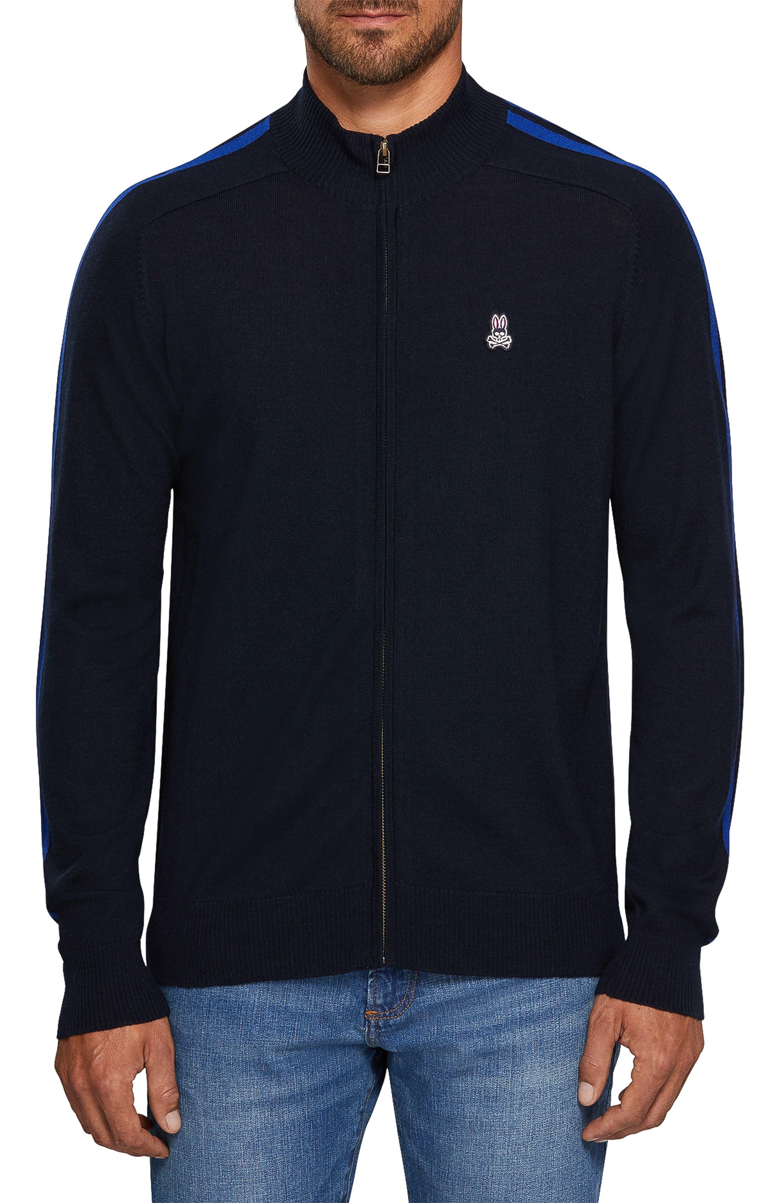 Zip Front Merino Sweater,                         Main,                         color, NAVY