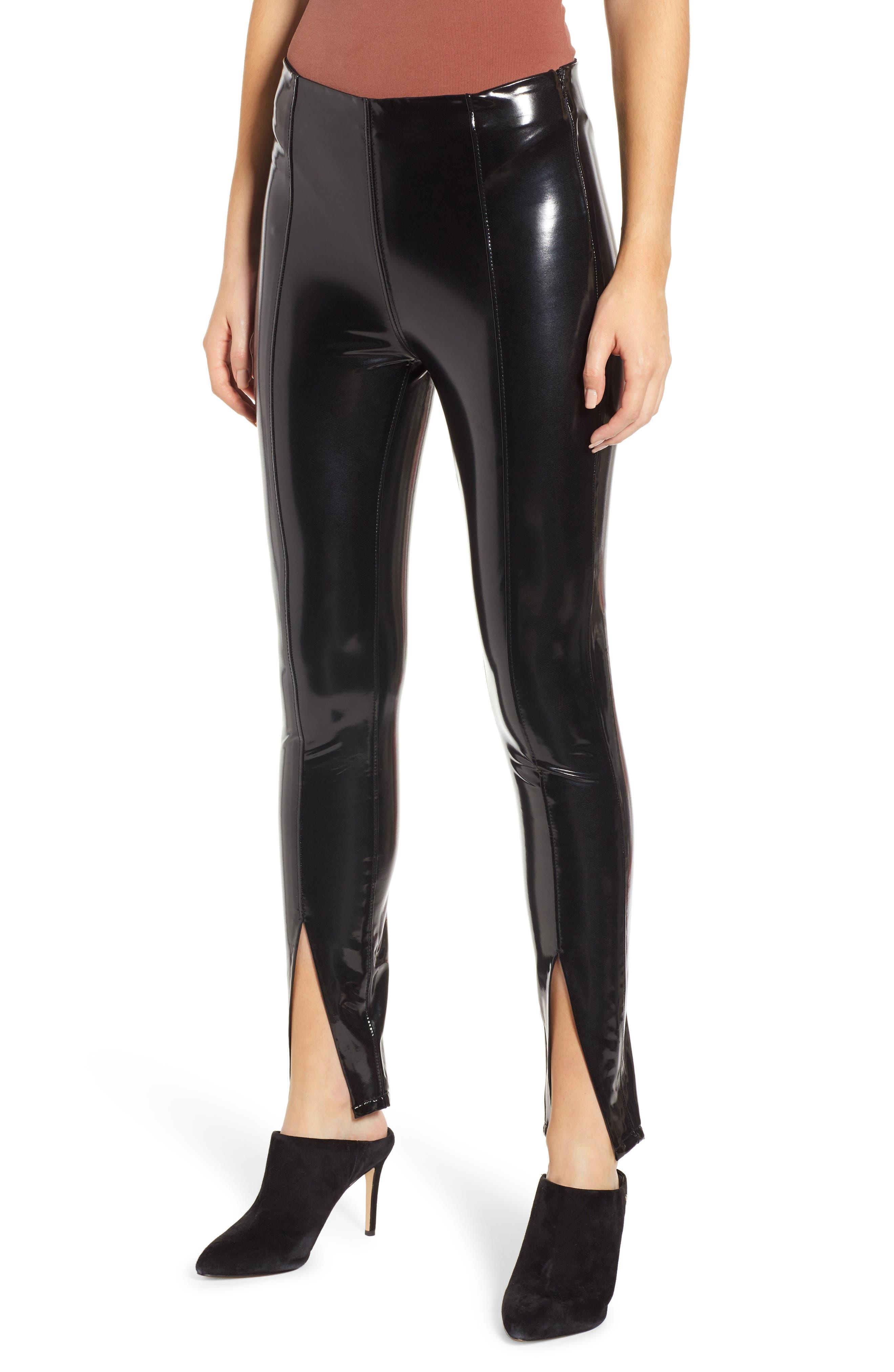 Patent Faux Leather Leggings,                             Main thumbnail 1, color,                             BLACK