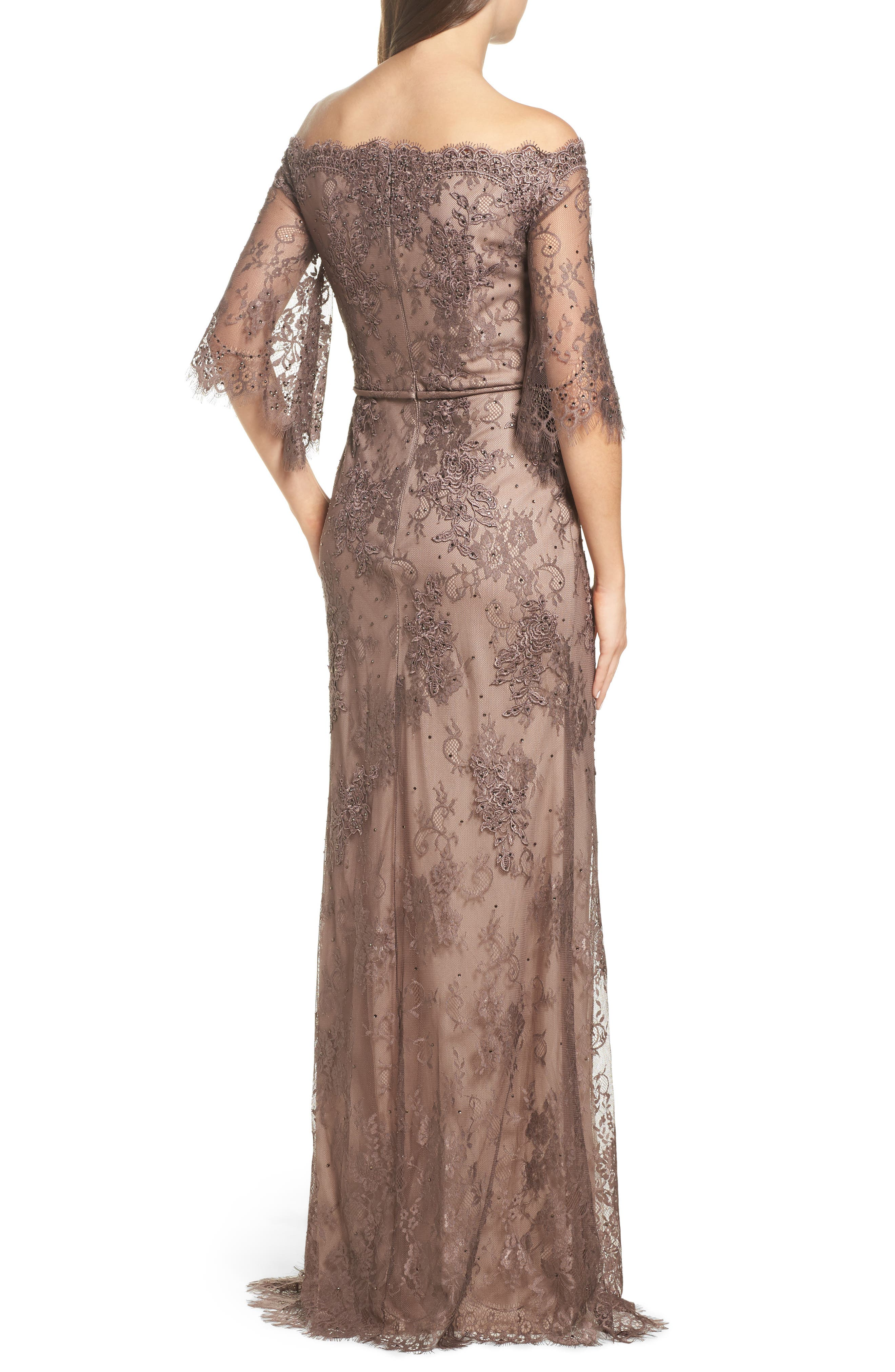 Off the Shoulder Lace Gown,                             Alternate thumbnail 2, color,                             COCOA
