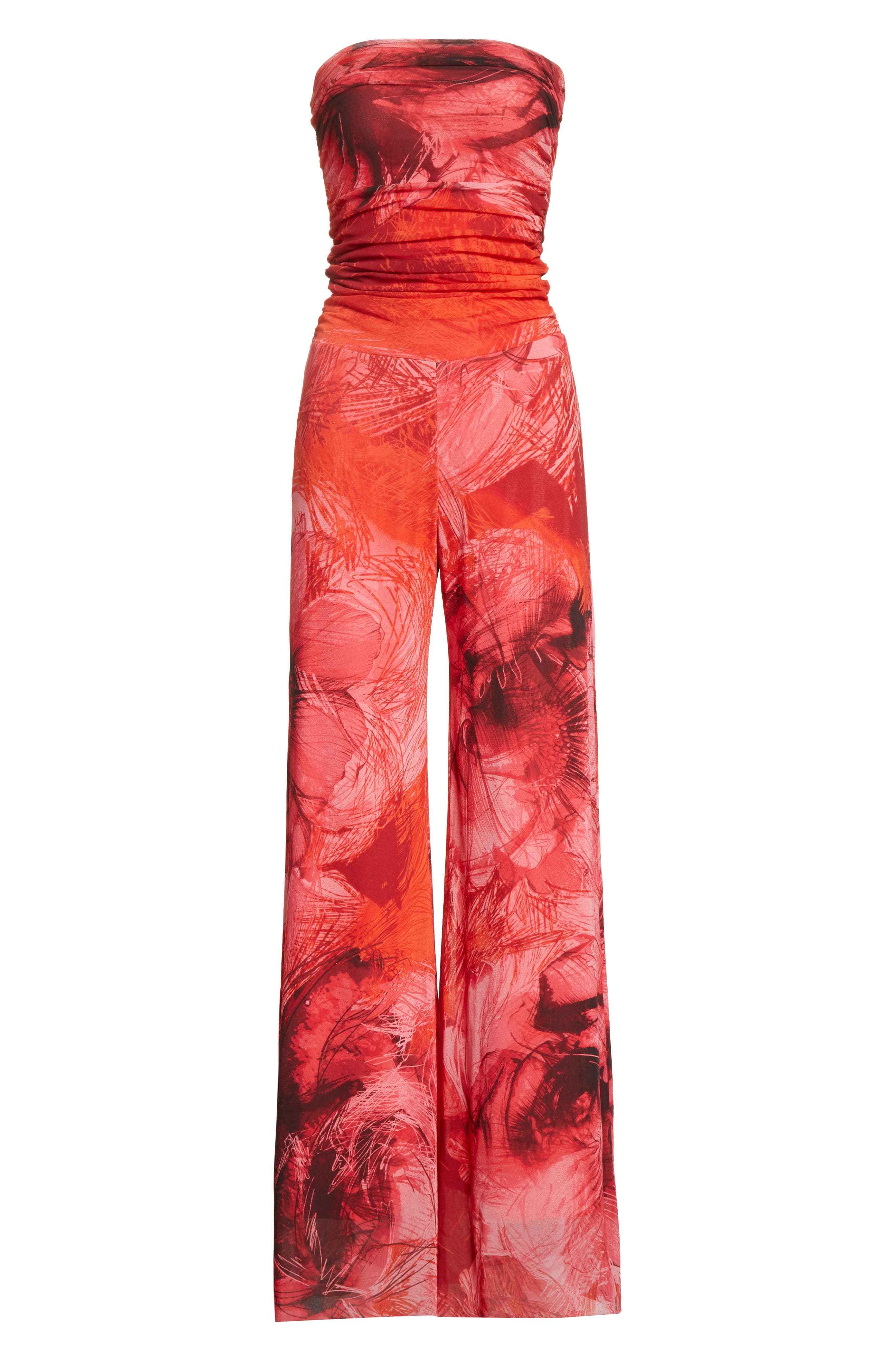 Print Tulle Strapless Jumpsuit,                             Alternate thumbnail 6, color,                             691