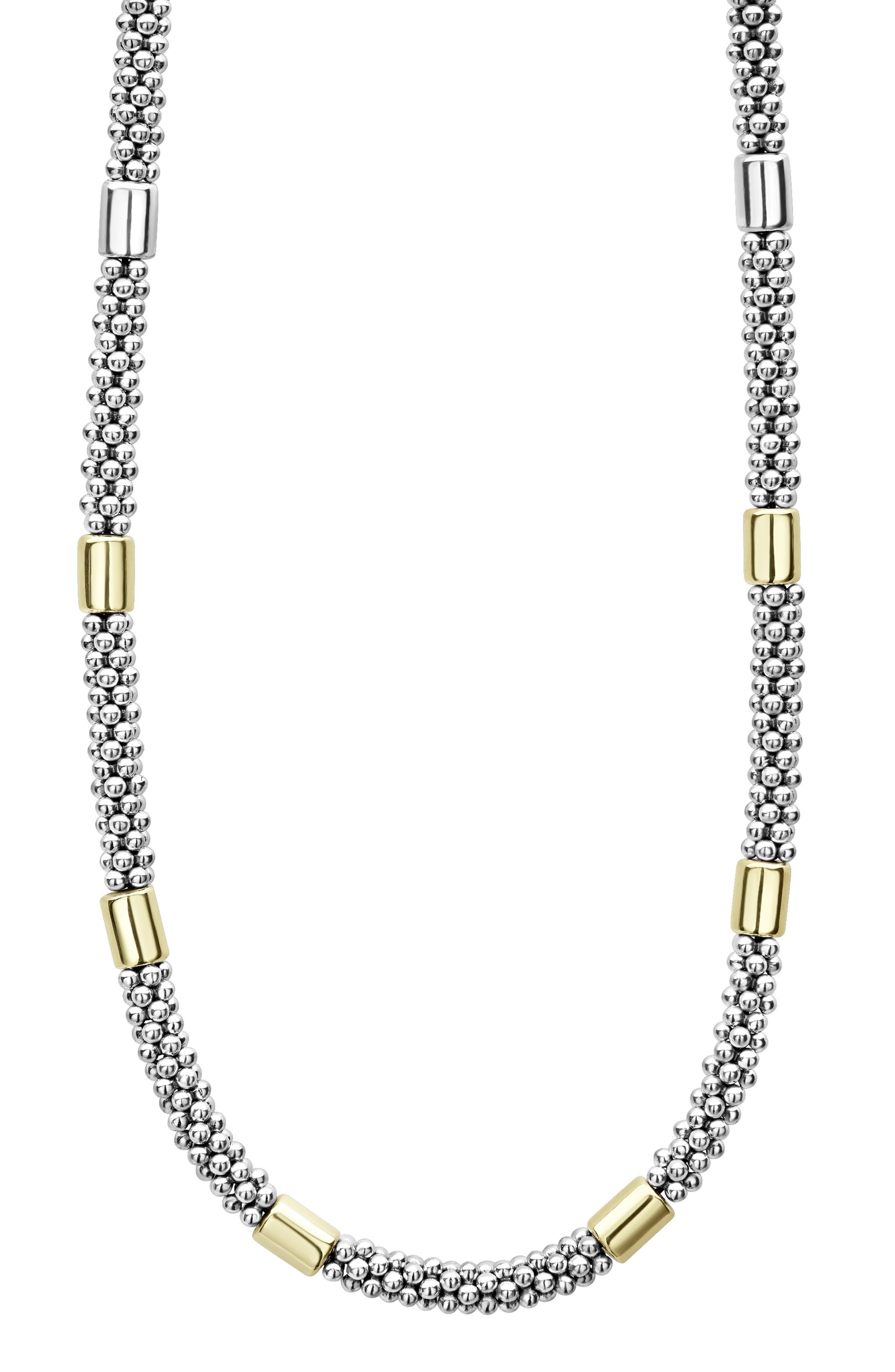 Caviar Rope Collar Necklace,                             Alternate thumbnail 3, color,                             SILVER/ GOLD