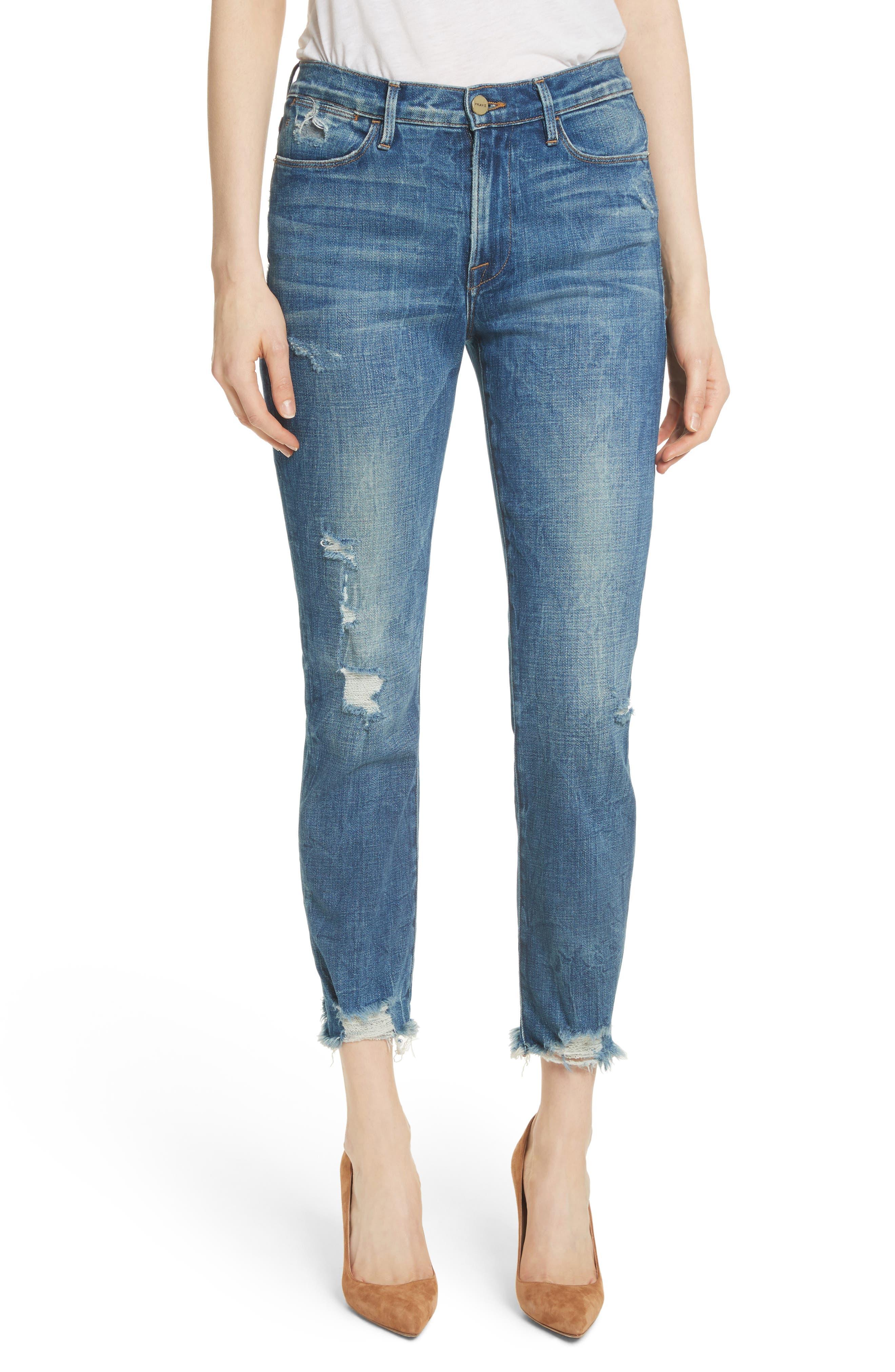 Le High Raw Edge Straight Jeans,                             Main thumbnail 1, color,                             401