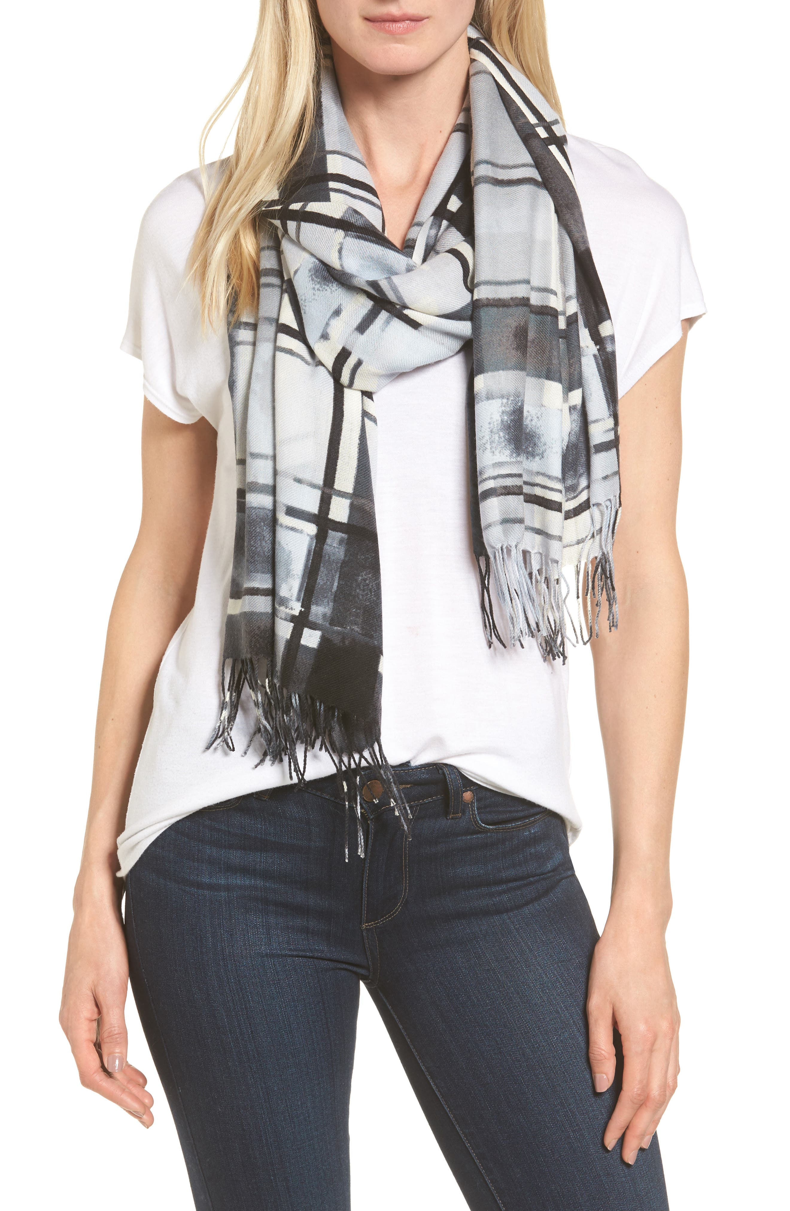 Handicraft Plaid Tissue Weight Wool & Cashmere Scarf,                             Main thumbnail 1, color,                             020