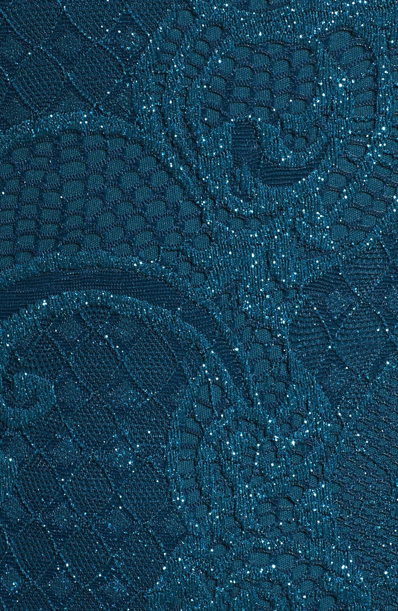 Bell Sleeve Glitter Lace Sheath Dress,                             Alternate thumbnail 5, color,                             412