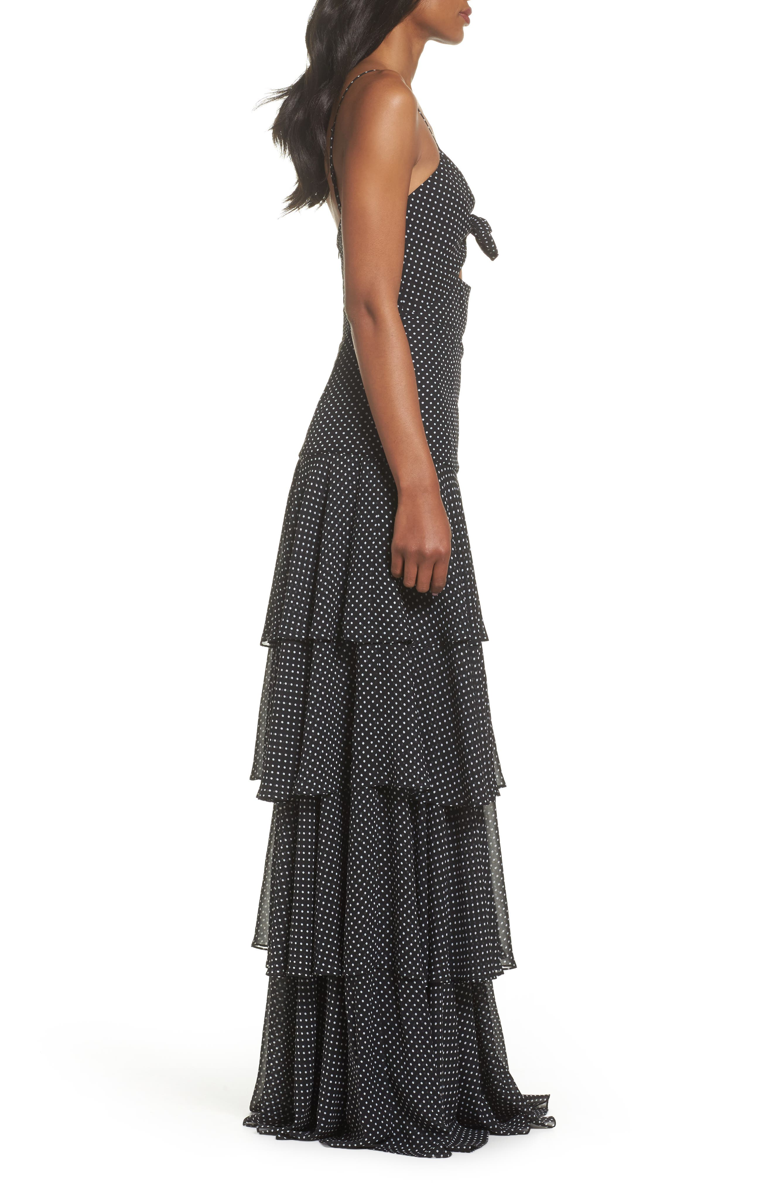 Polka Dot Tiered Gown,                             Alternate thumbnail 3, color,