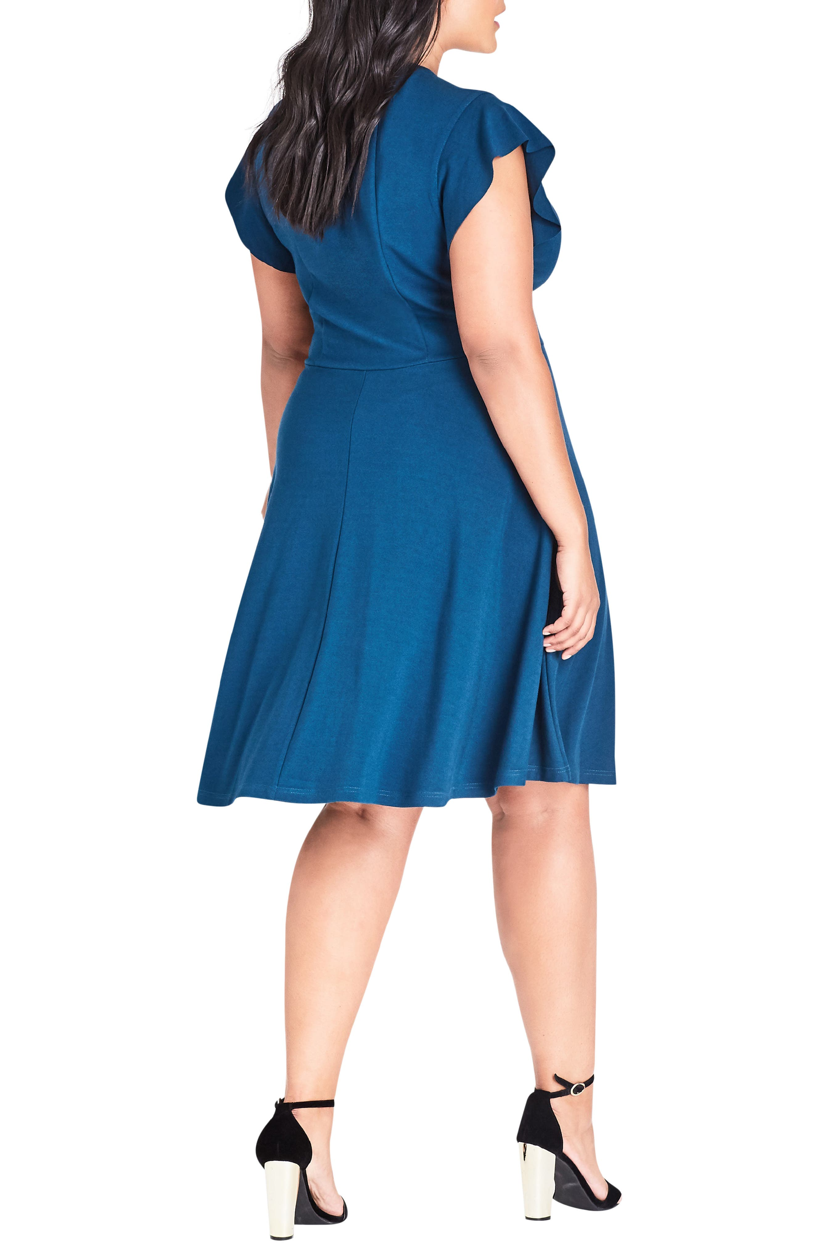 Frill Sleeve Fit & Flare Dress,                             Alternate thumbnail 2, color,                             TEAL