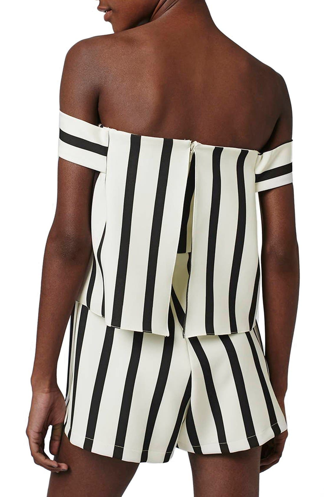 Stripe Off the Shoulder Romper,                             Alternate thumbnail 3, color,                             100