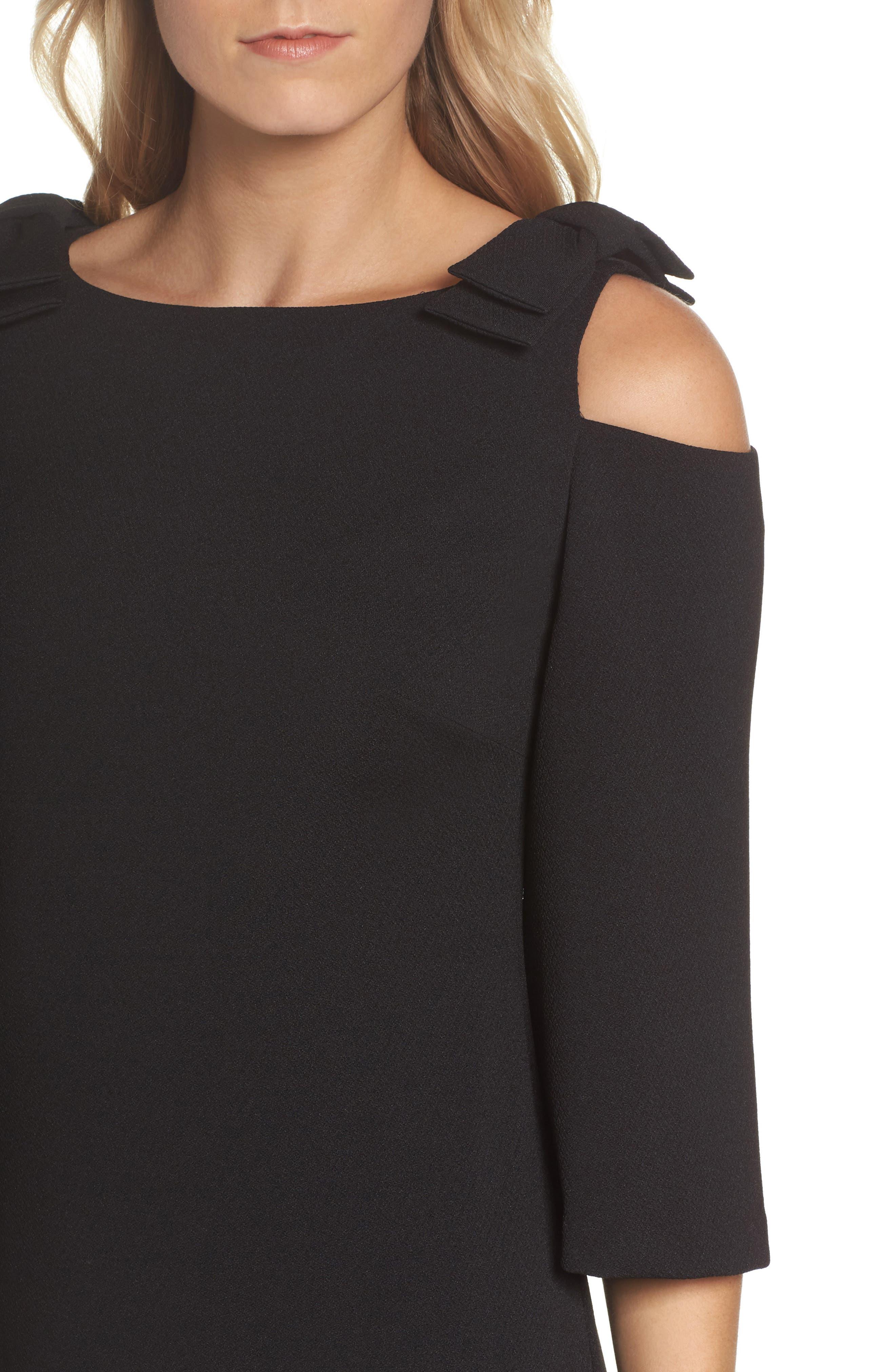 Aria Cold Shoulder Sheath Dress,                             Alternate thumbnail 4, color,                             001