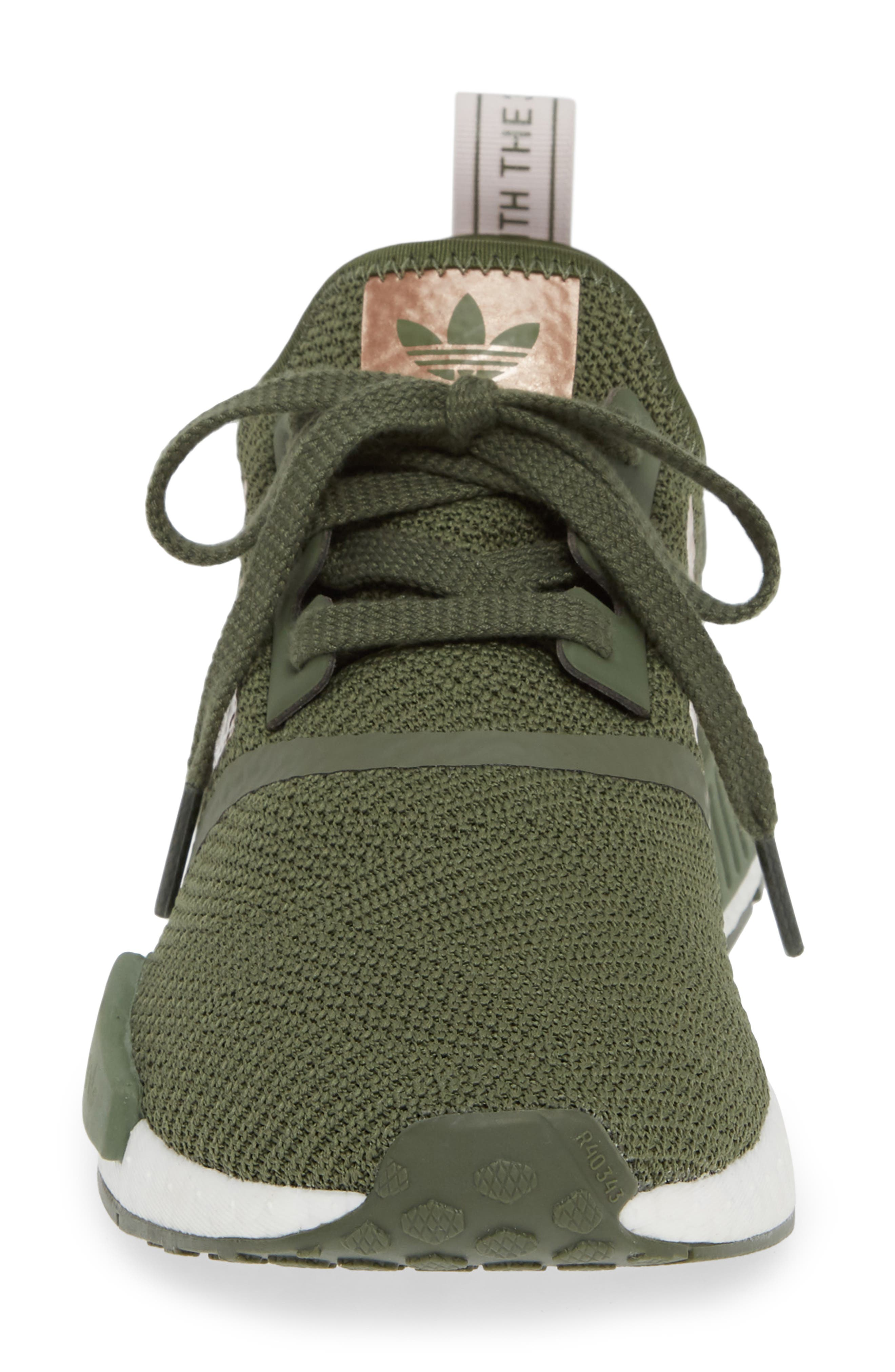 NMD R1 Athletic Shoe,                             Alternate thumbnail 4, color,                             BASE GREEN/ SUPER POP