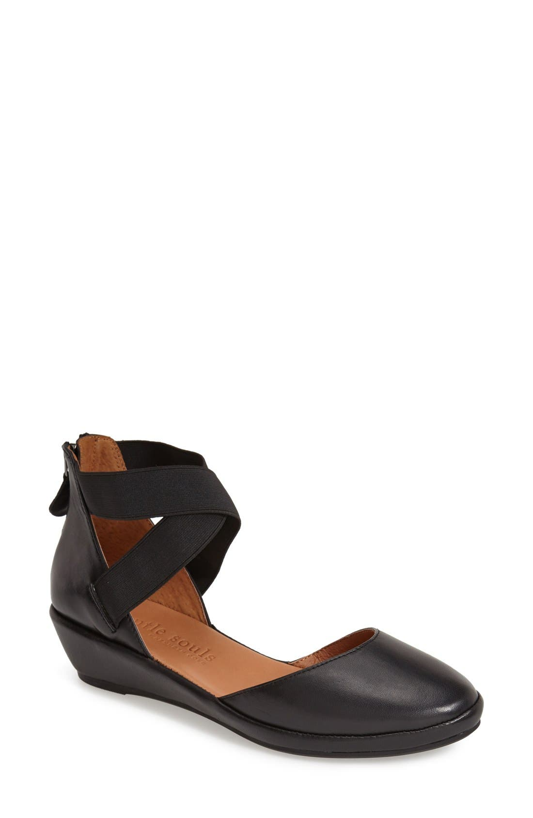 by Kenneth Cole 'Noa' Elastic Strap d'Orsay Sandal,                             Main thumbnail 1, color,                             BLACK