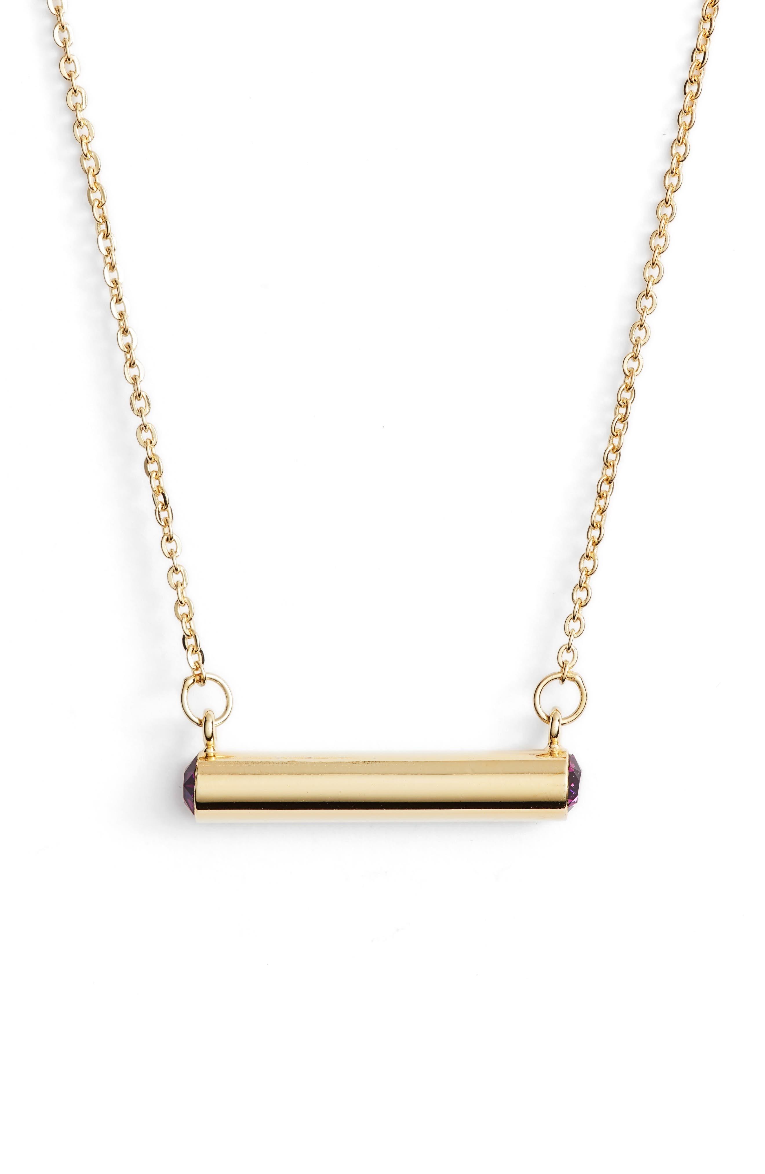 February Crystal Bar Pendant Necklace,                             Main thumbnail 2, color,