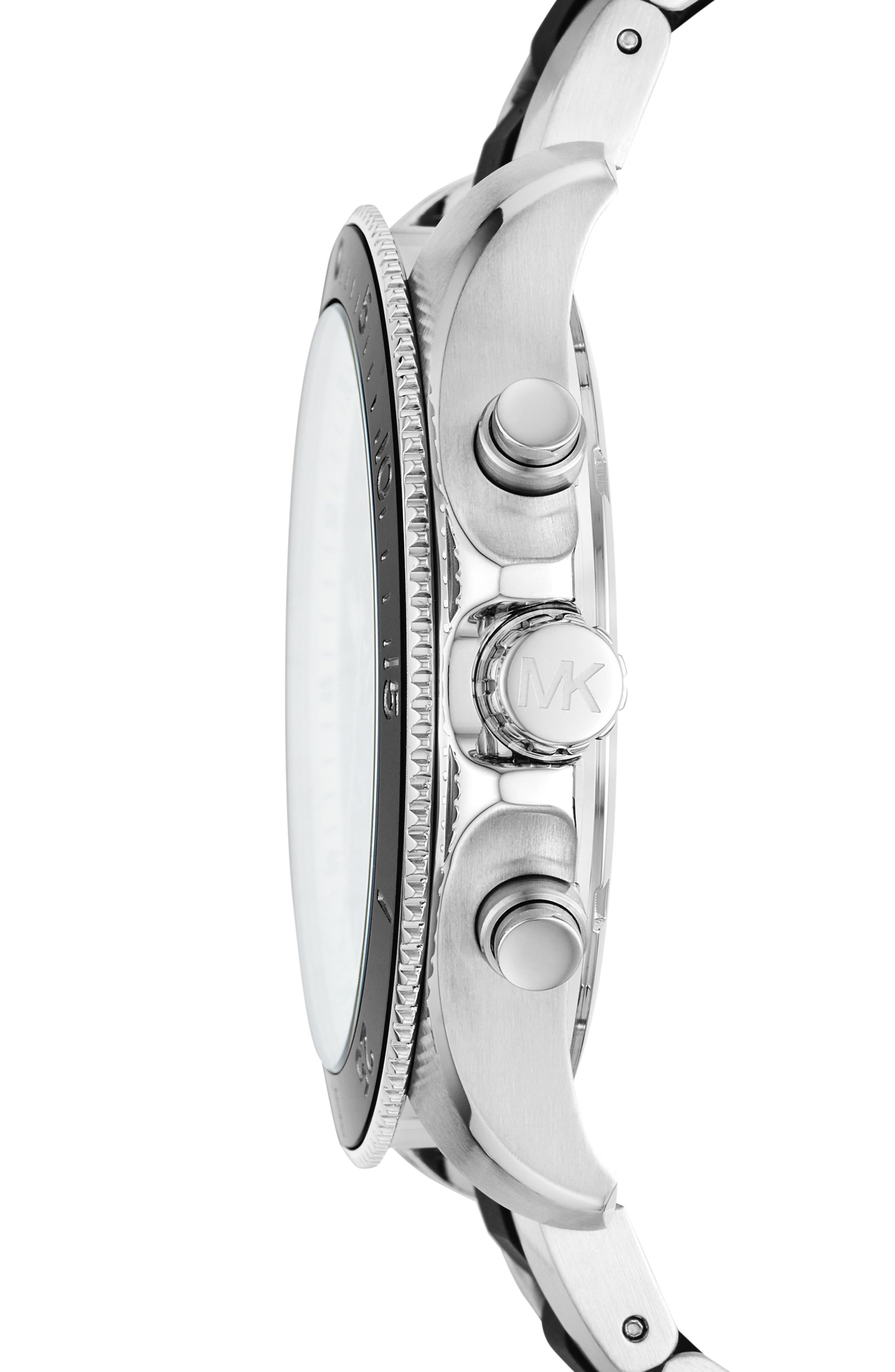 MICHAEL KORS,                             Theroux Silicone Bracelet Watch, 45mm,                             Alternate thumbnail 2, color,                             SILVER/ BLACK SUNRAY/ SILVER