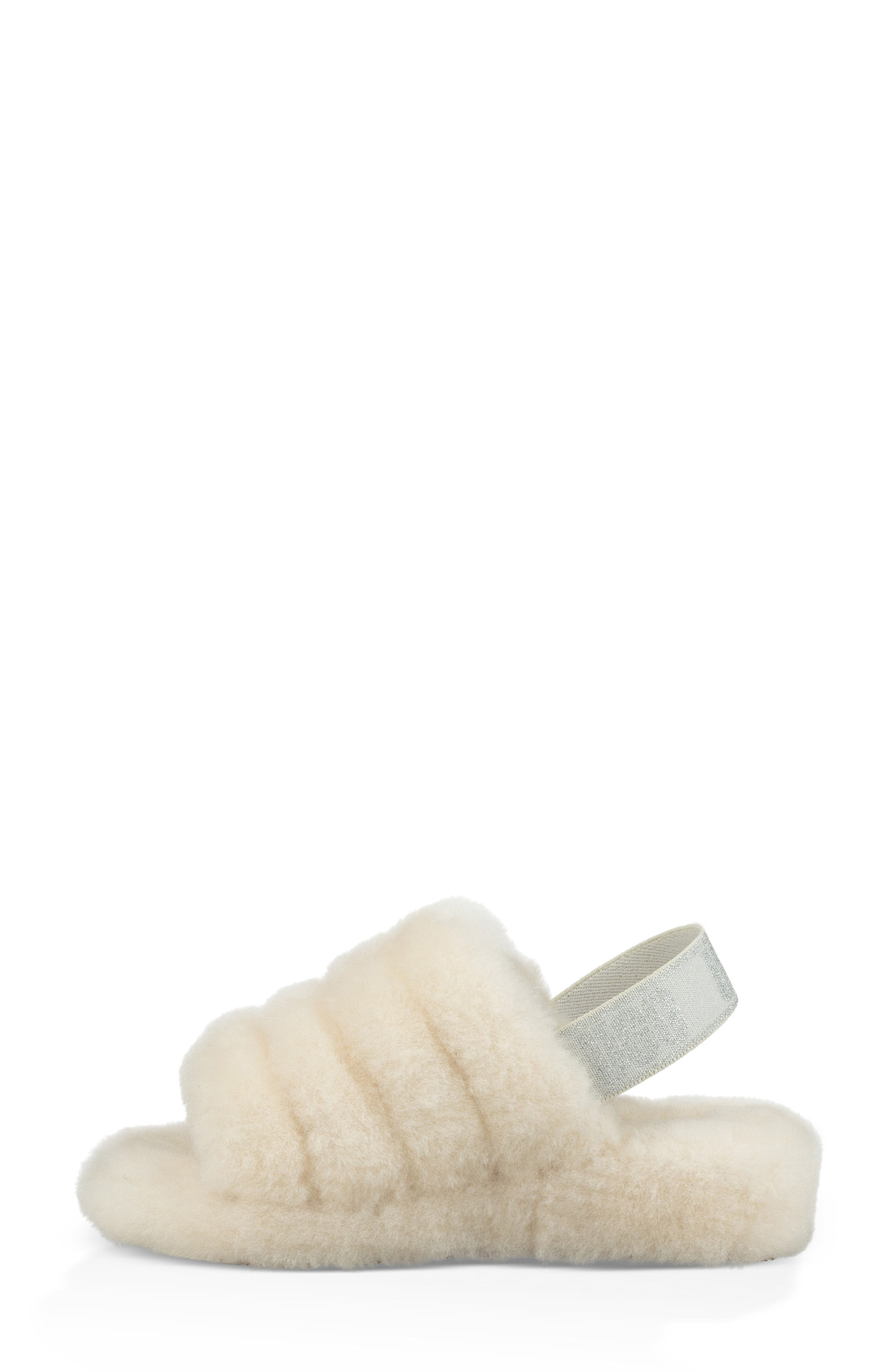 Fluff Yeah Genuine Shearling Slipper,                             Alternate thumbnail 3, color,                             CREAM