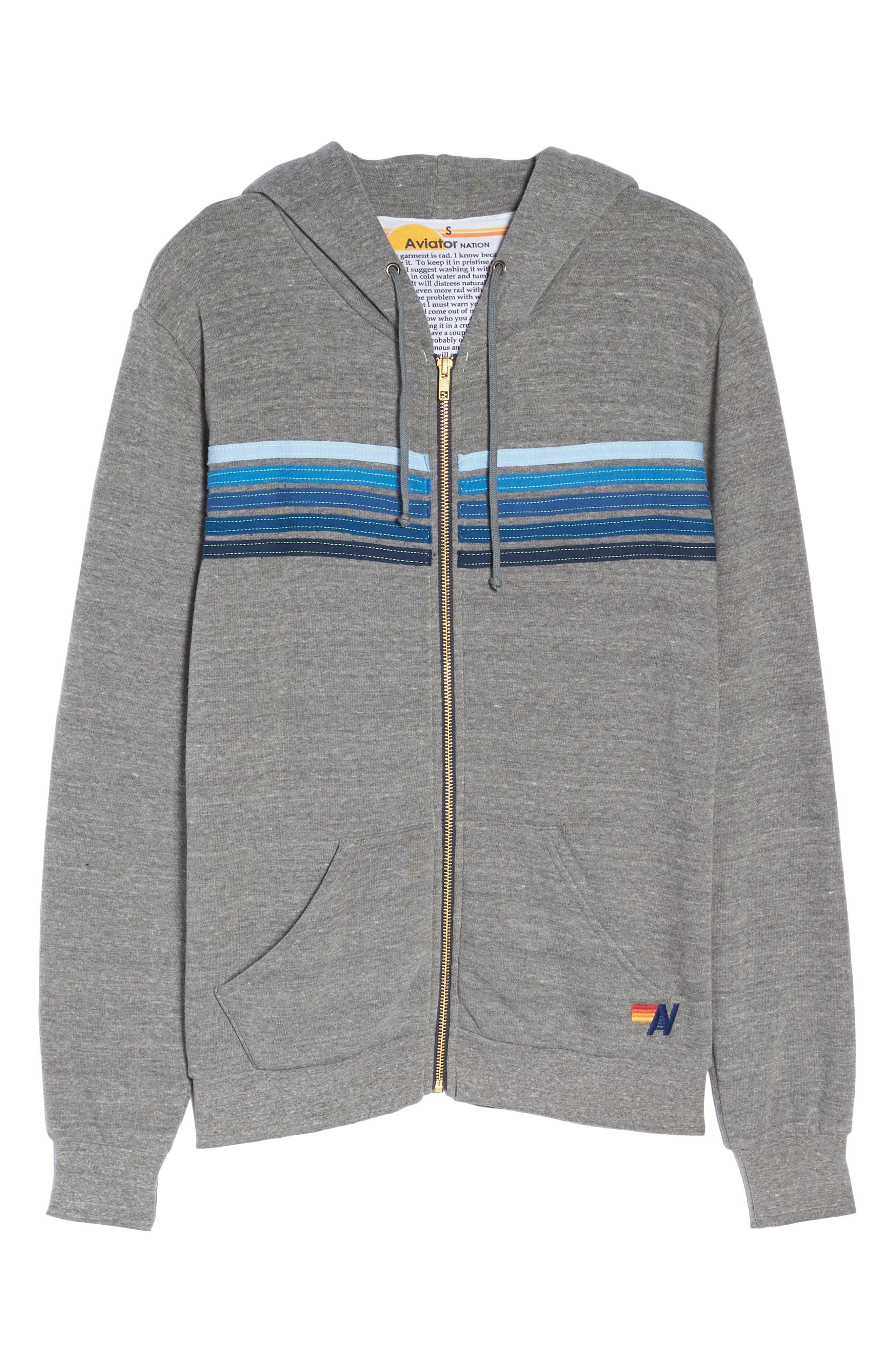 5-Stripe Zip Hoodie,                             Alternate thumbnail 7, color,                             HEATHER GREY/ BLUE STRIPES