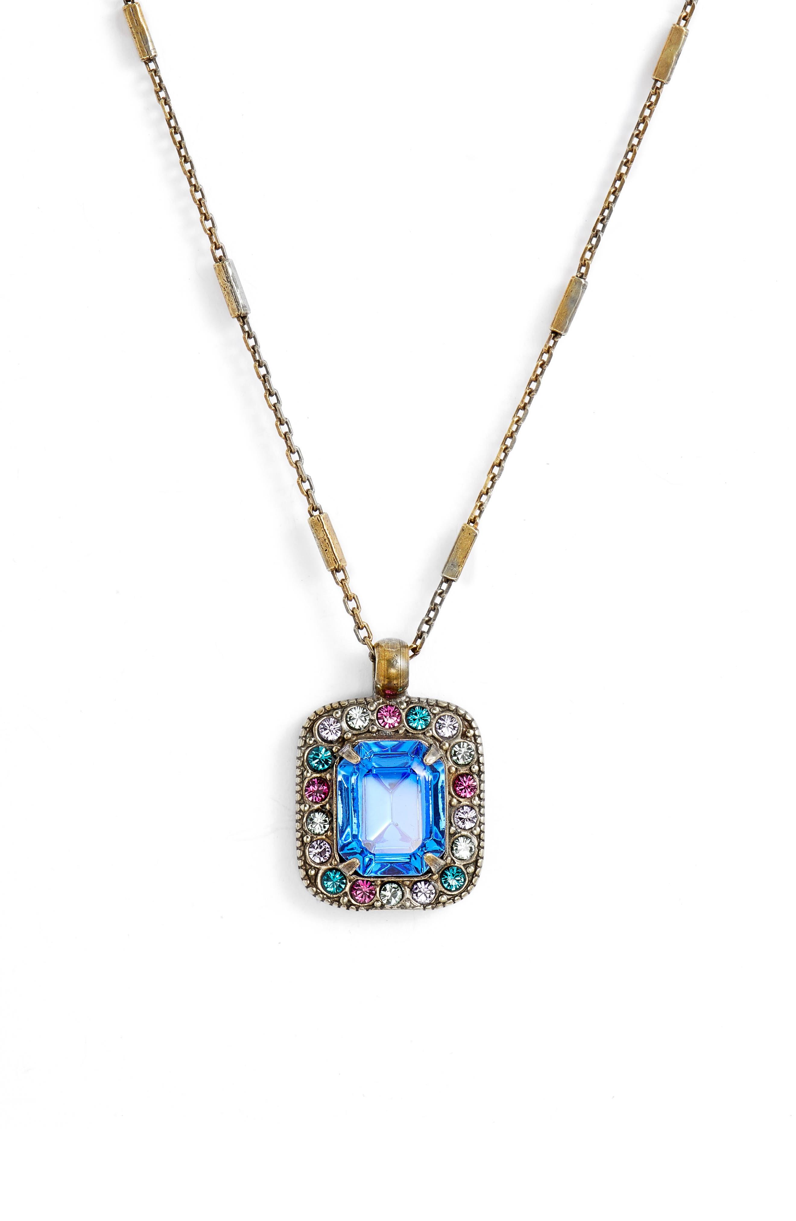 Opulent Octagon Crystal Pendant Necklace,                             Main thumbnail 1, color,                             710