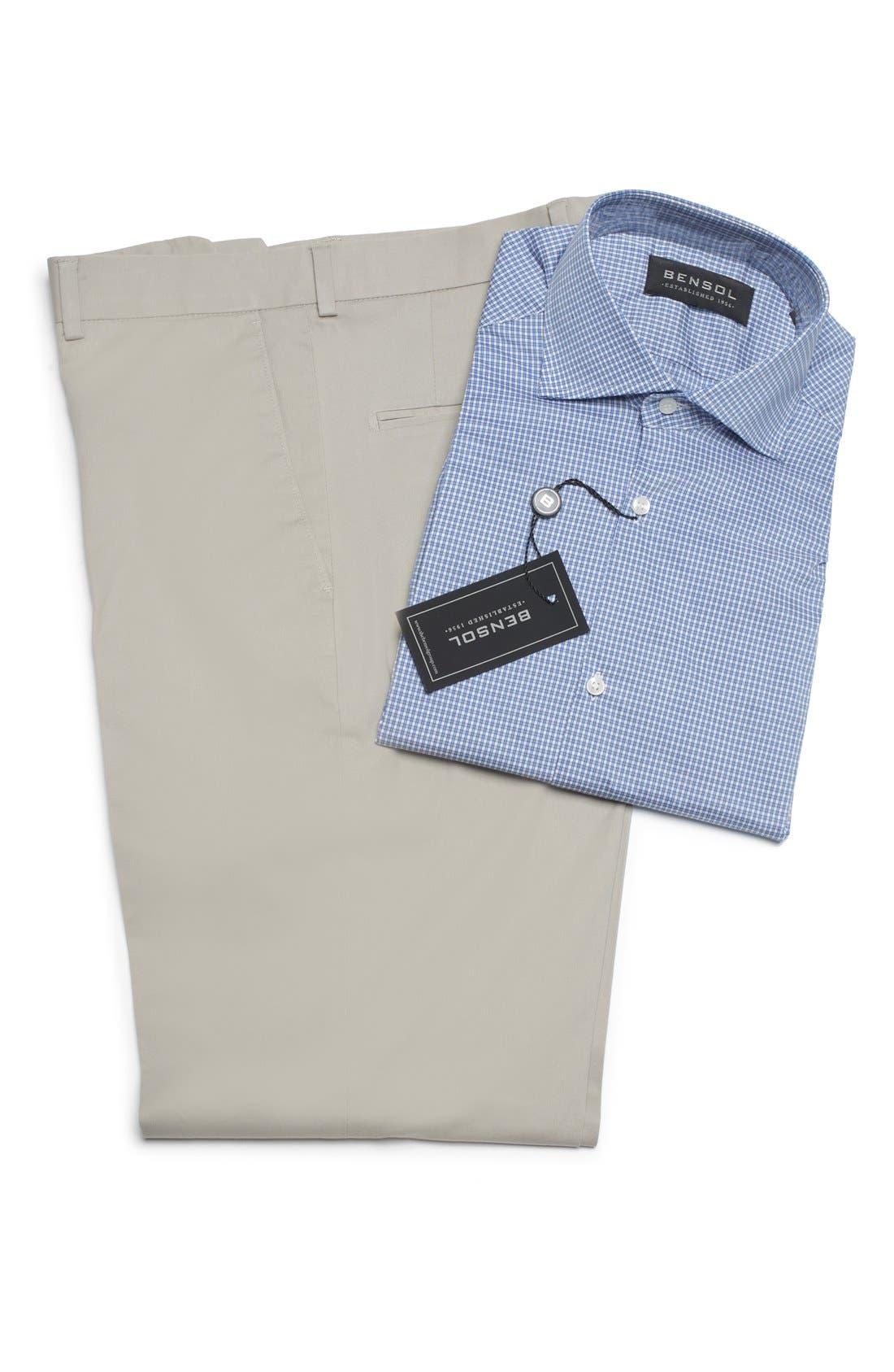 Washed Trim Fit Stretch Cotton Trousers,                             Alternate thumbnail 11, color,