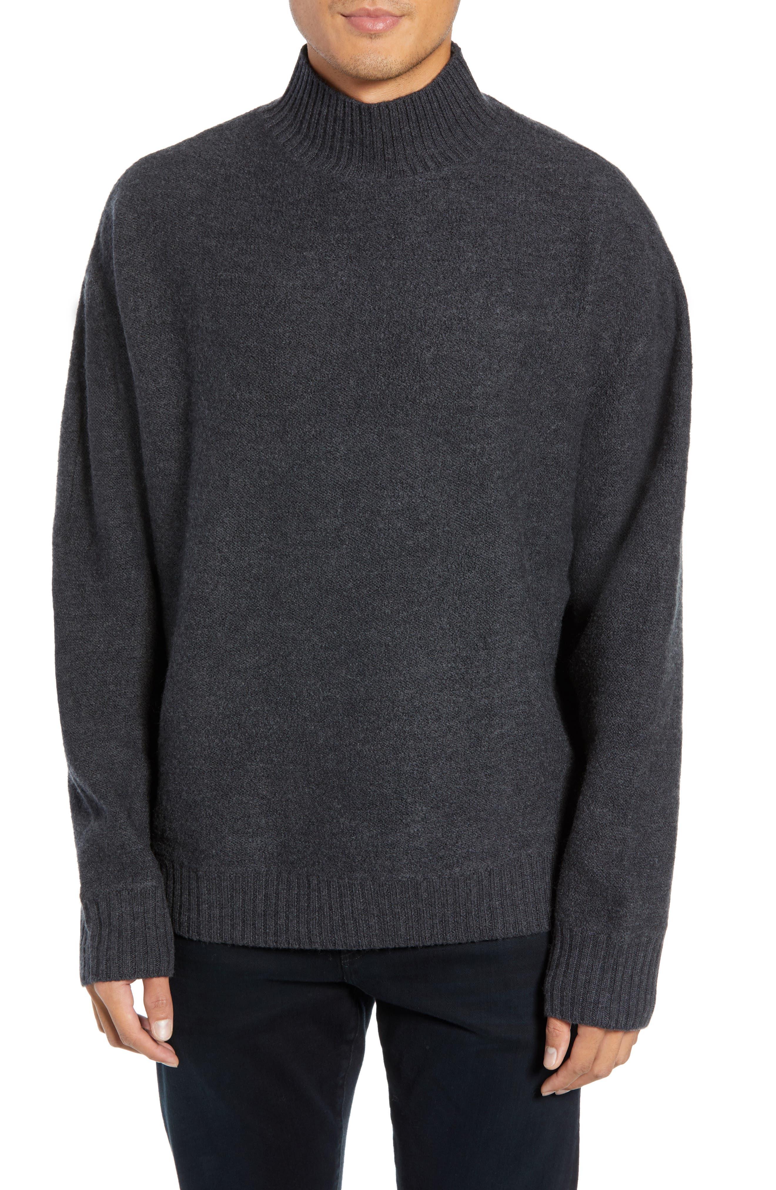 Bold Funnel Neck Wool Sweater,                             Main thumbnail 1, color,                             GREY MELANGE