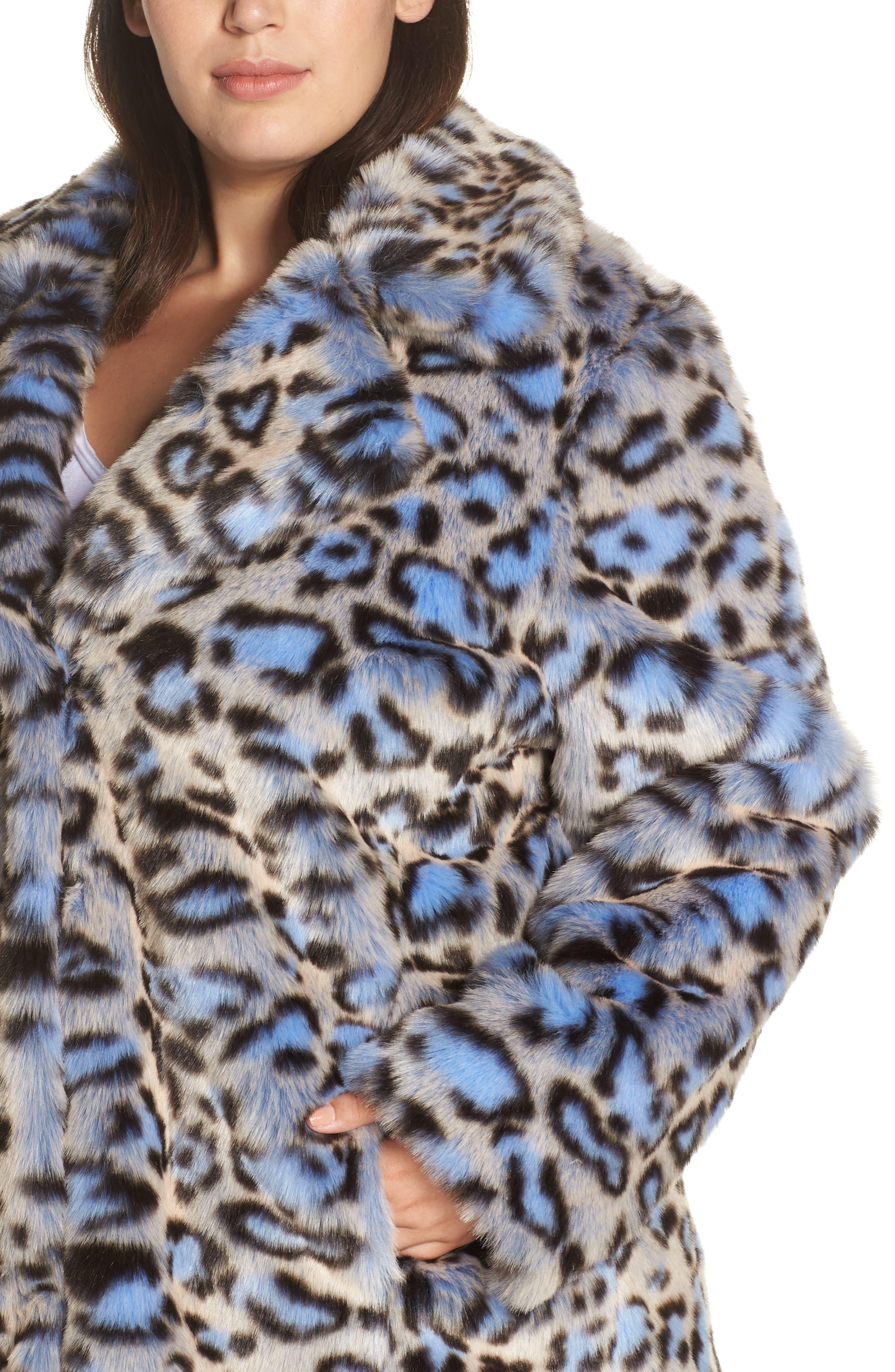Animal Print Faux Fur Coat,                             Alternate thumbnail 4, color,                             BLUE LEOPARD