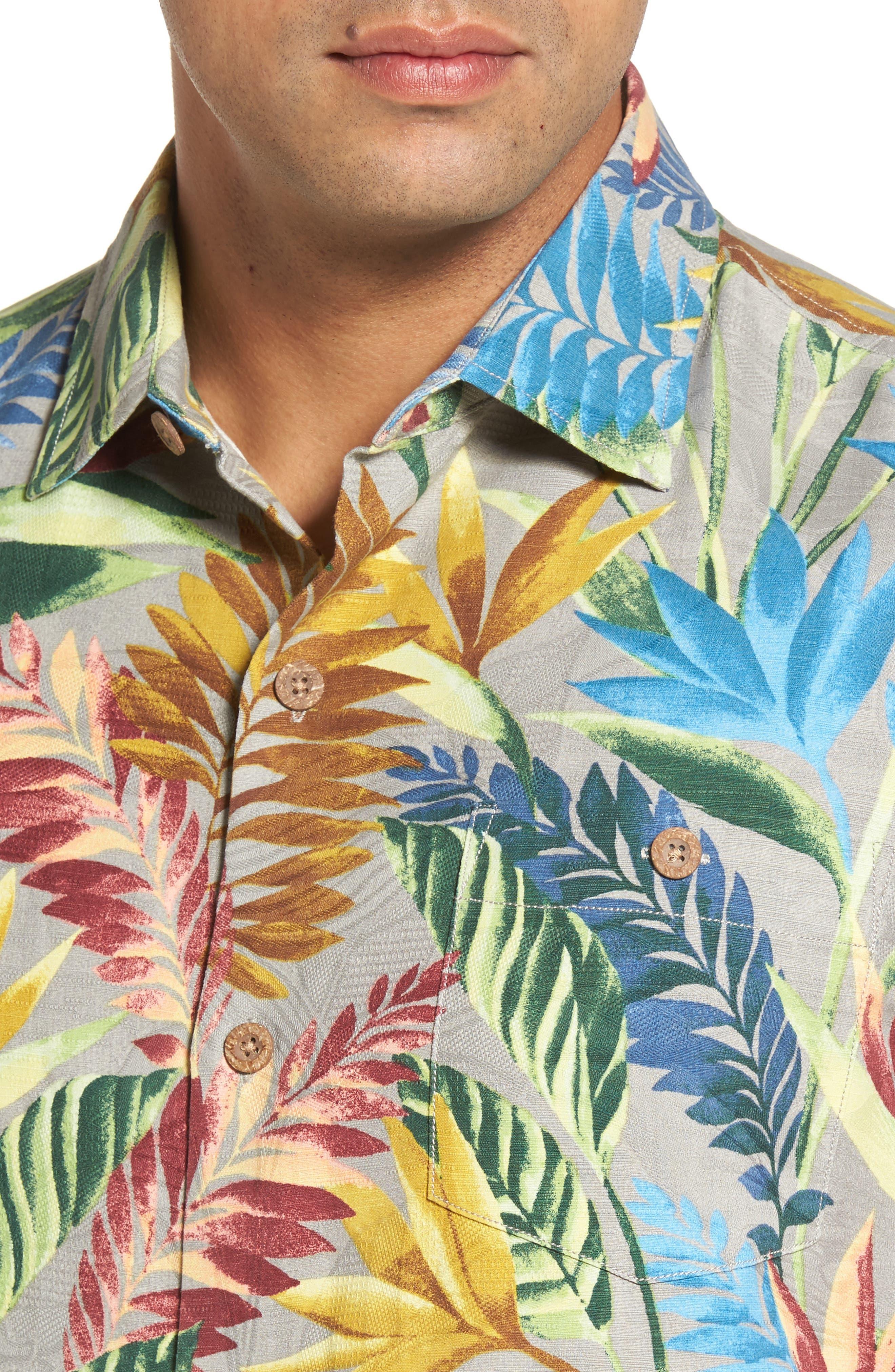 Taza Fronds Silk Brocade Woven Shirt,                             Alternate thumbnail 4, color,                             050
