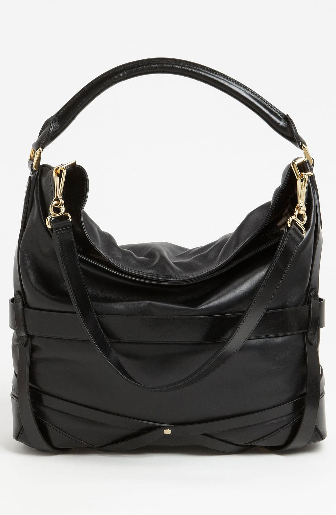 'Bridle' Leather Hobo,                             Alternate thumbnail 4, color,                             002