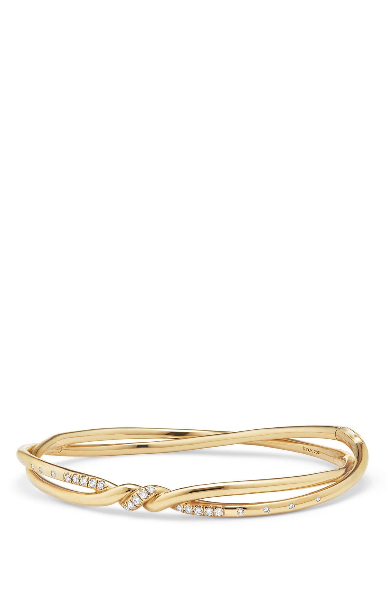 Continuance Center Twist 18K Gold Bracelet with Diamonds,                             Main thumbnail 1, color,                             YELLOW GOLD