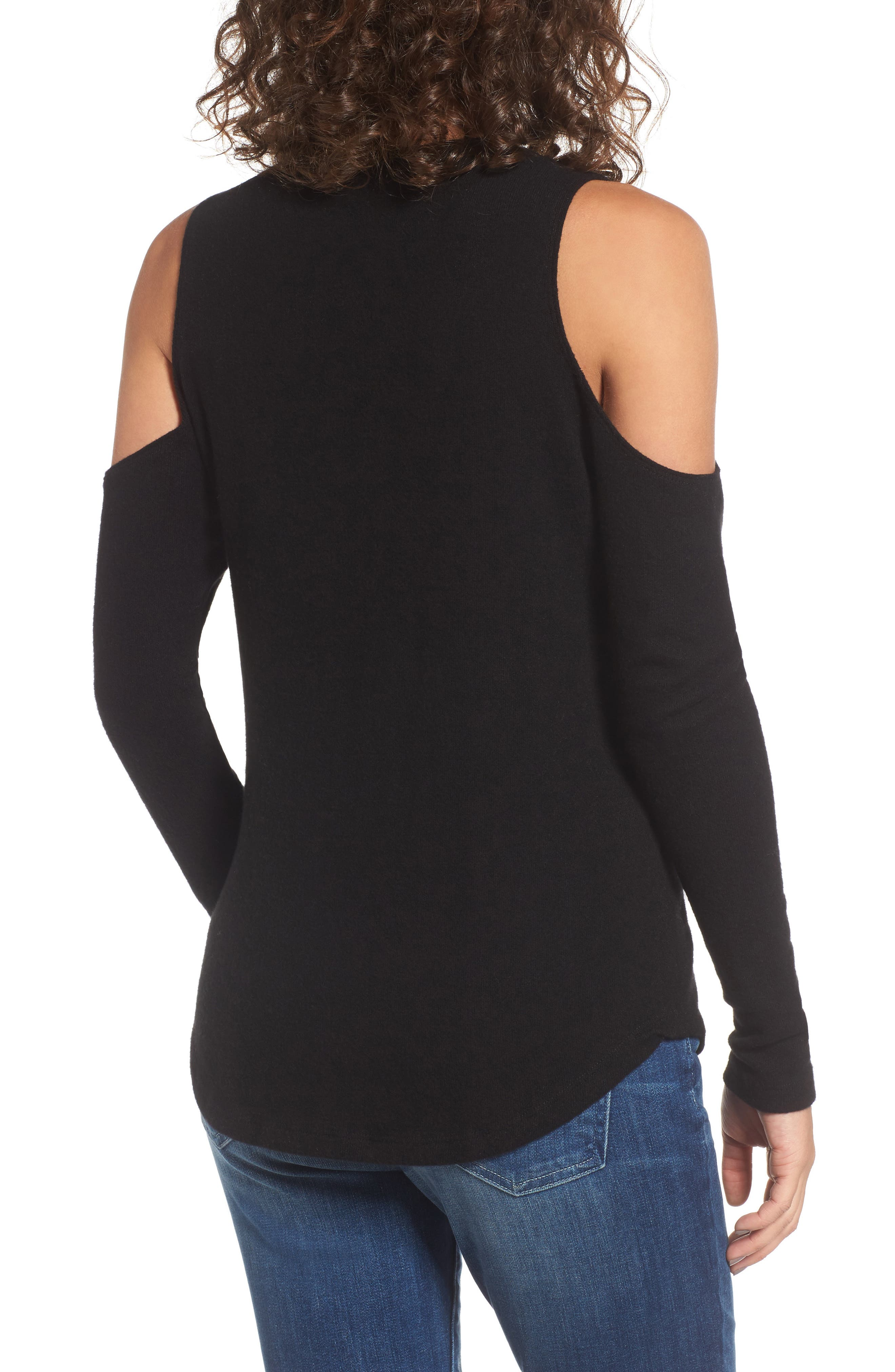 Meridian Strappy Cold Shoulder Top,                             Alternate thumbnail 2, color,                             001
