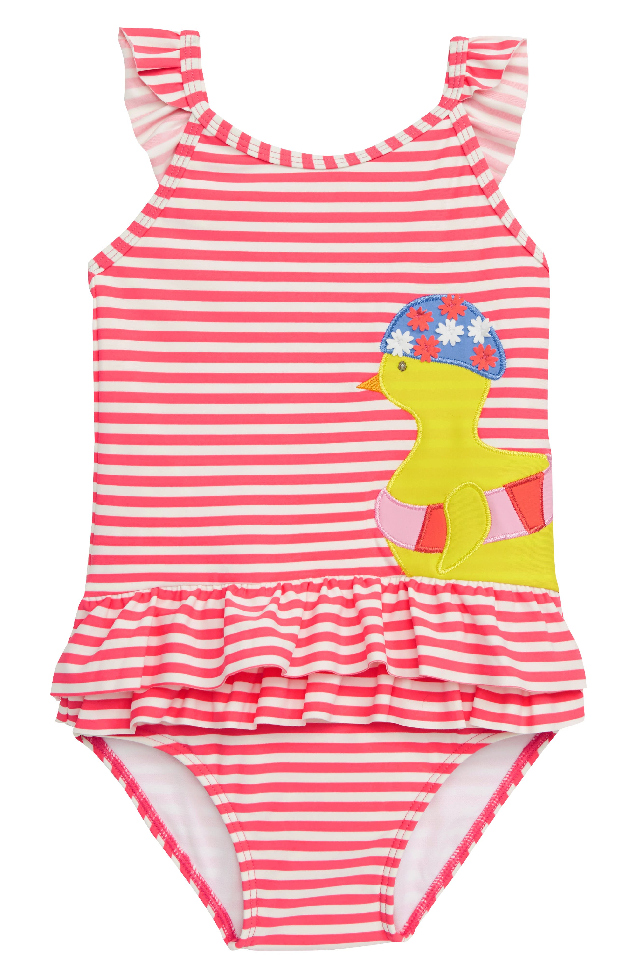 Pretty Frill Appliqué One-Piece Swimsuit,                             Main thumbnail 1, color,                             PNK BRUSH PINK/ IVORY CHICK