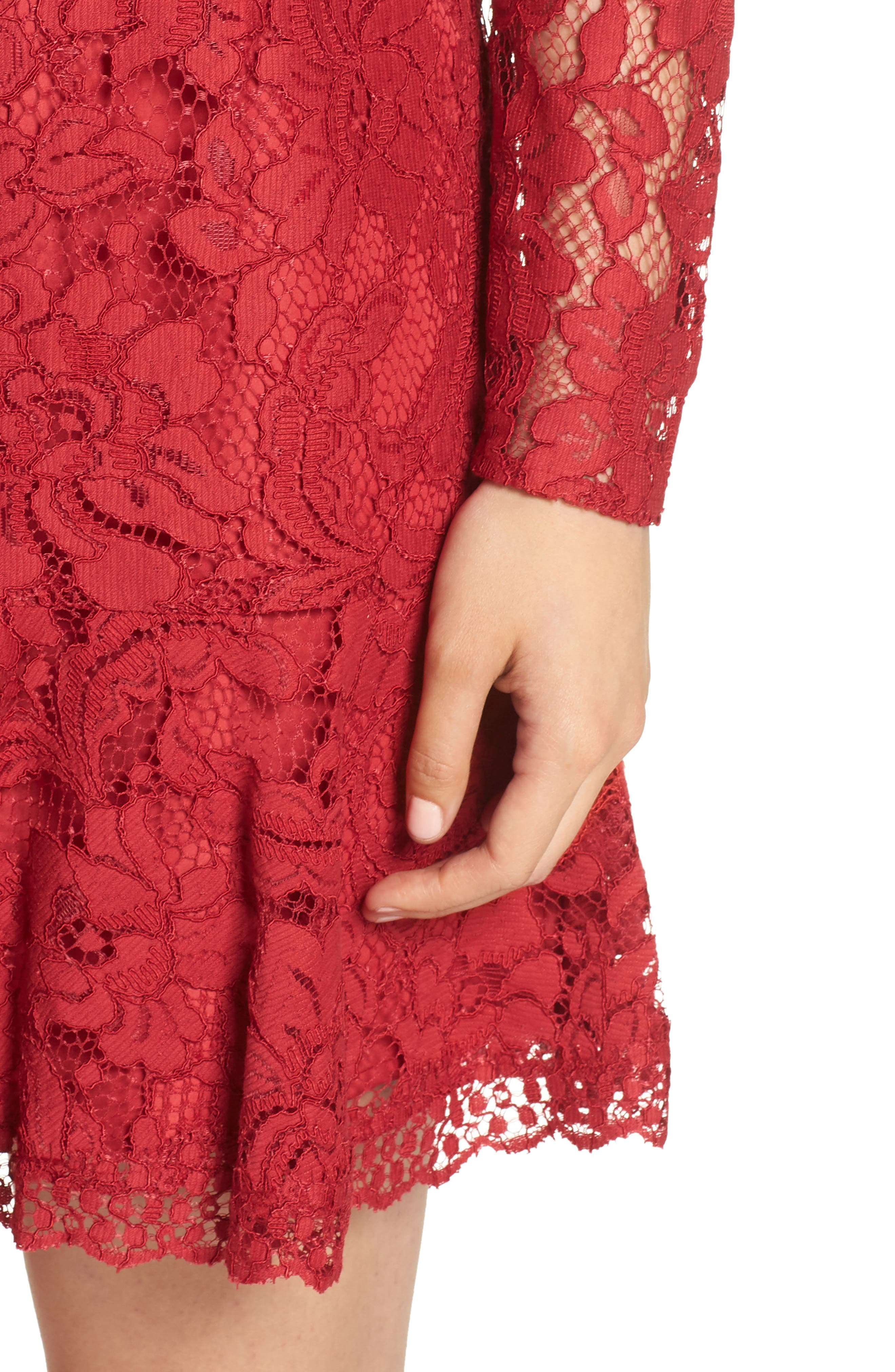 Lace Fit & Flare Dress,                             Alternate thumbnail 4, color,                             LIPSTICK RED