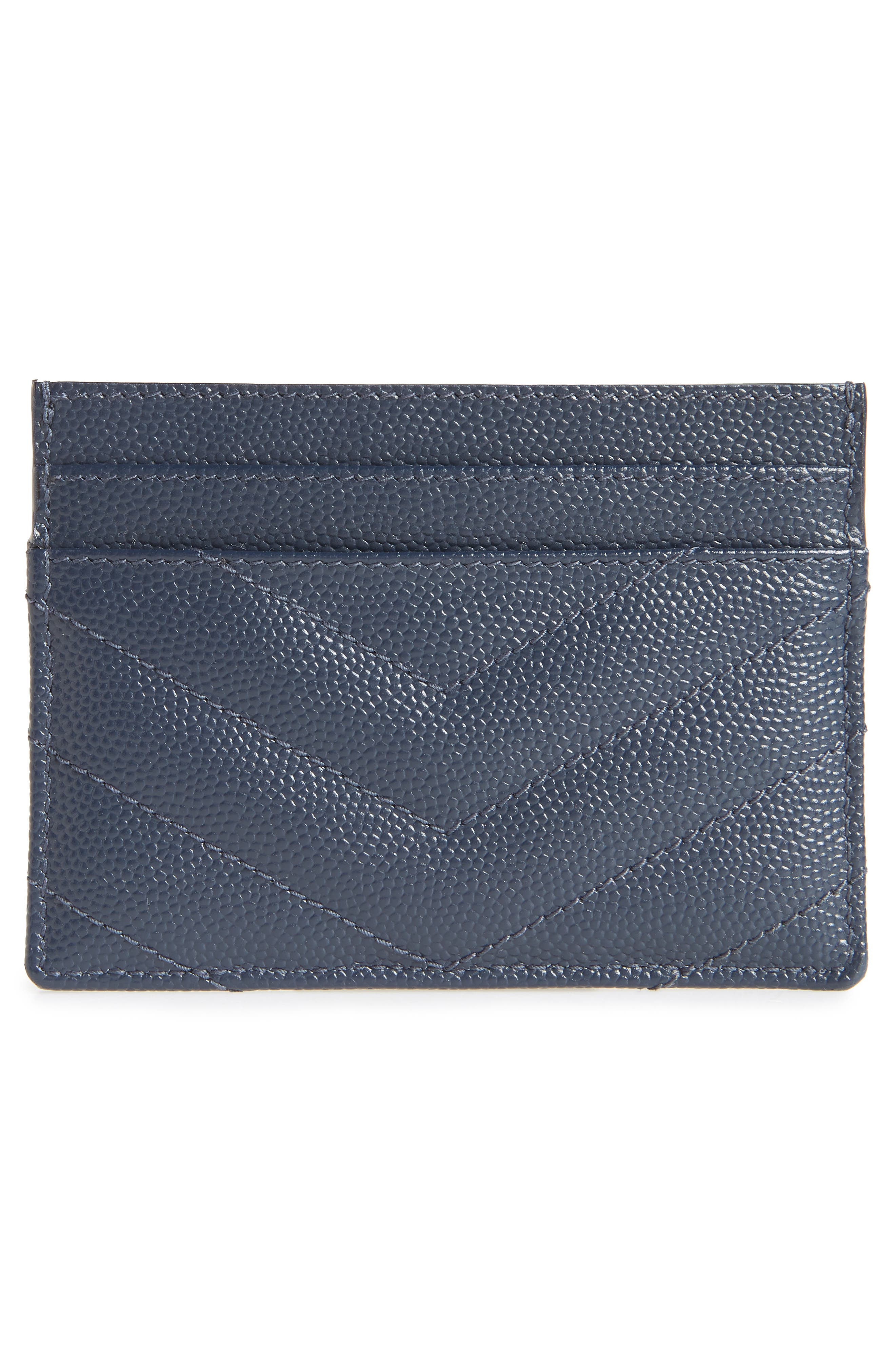 Monogram Quilted Leather Credit Card Case,                             Alternate thumbnail 2, color,                             NAVY