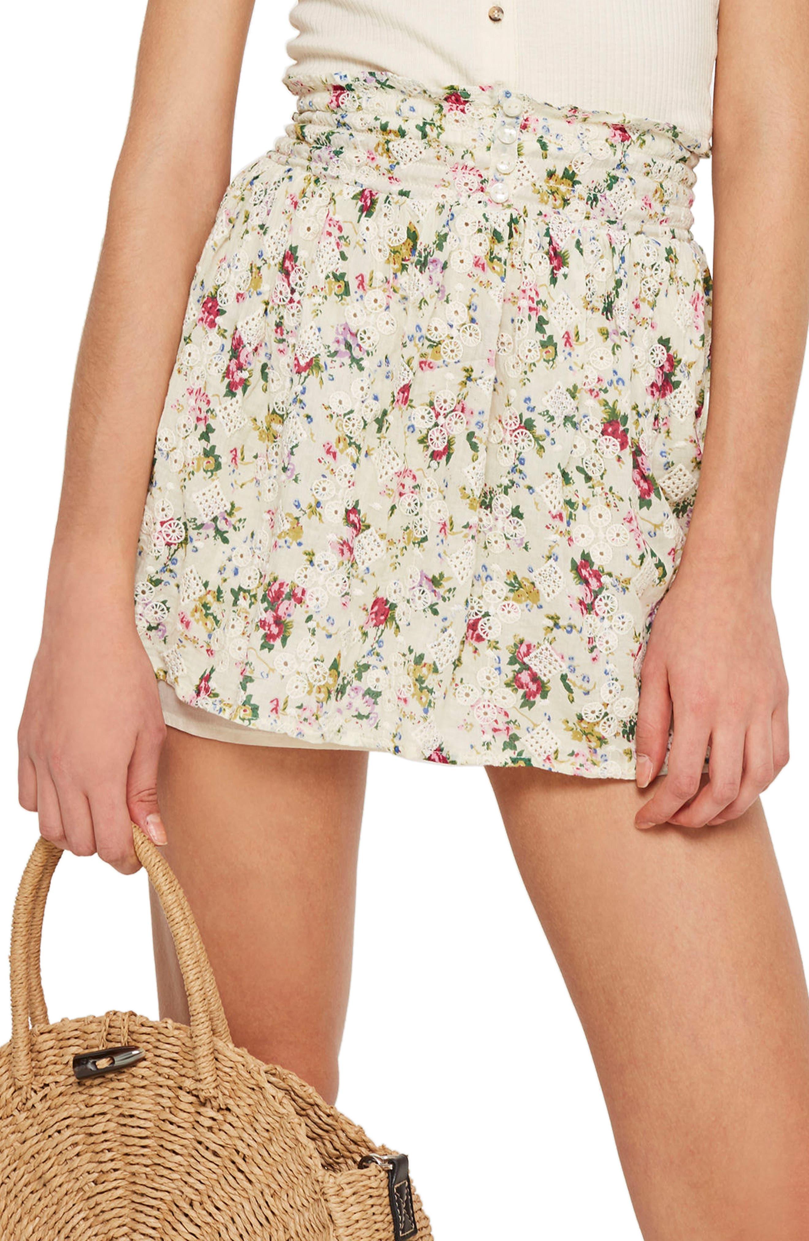 Broderie Print Miniskirt,                         Main,                         color, 900