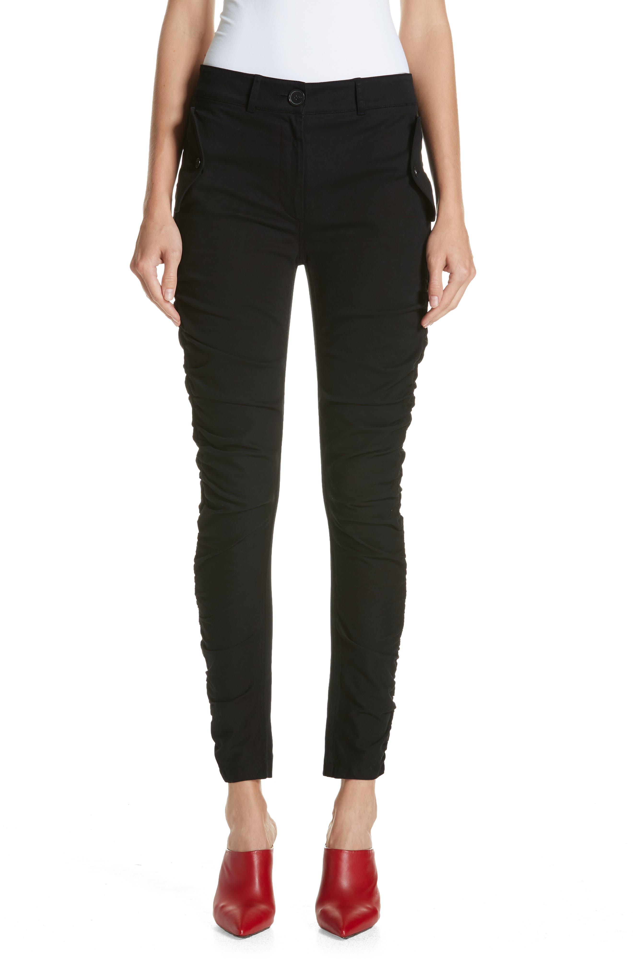 Ruched Stretch Cotton Pants,                         Main,                         color, BLACK