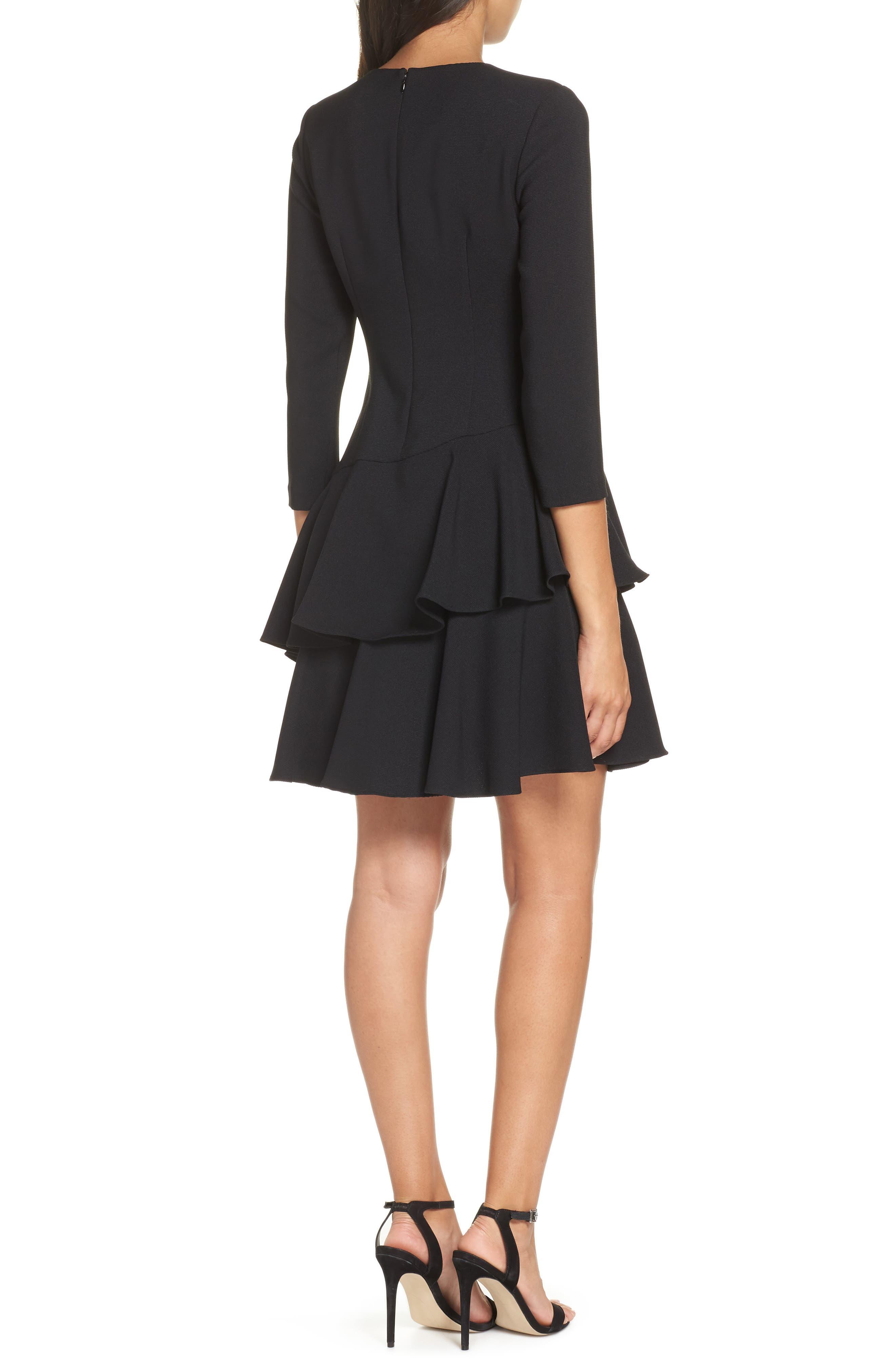 Tiered Ruffle Knit Dress,                             Alternate thumbnail 2, color,                             BLACK