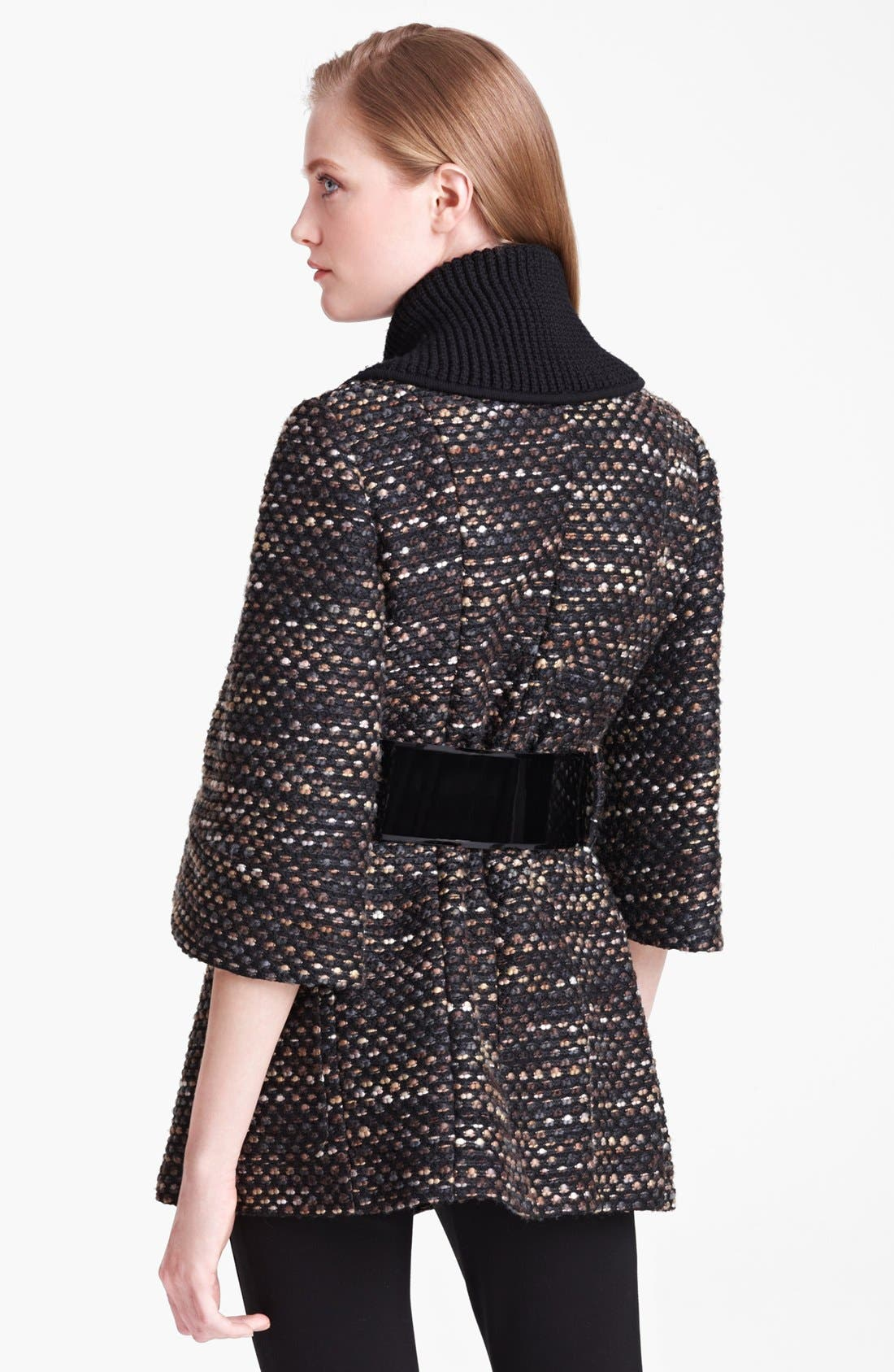 Belted Tweed Knit Coat,                             Alternate thumbnail 2, color,                             001